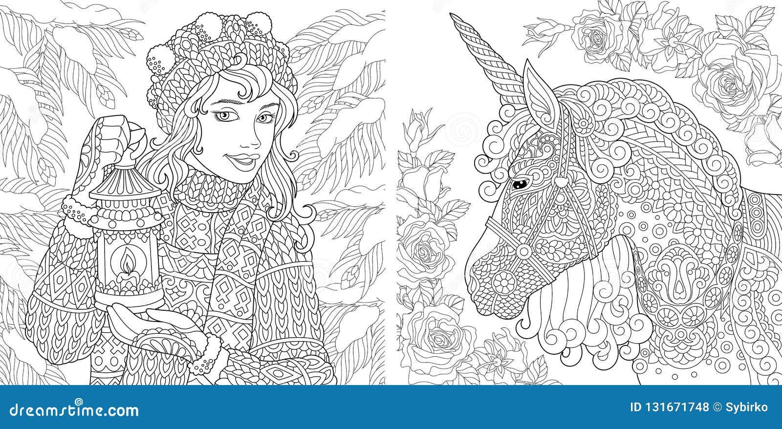 幻想着色页 成人的彩图 与冬天女孩和不可思议的独角兽的上色图片 Antistress徒手画