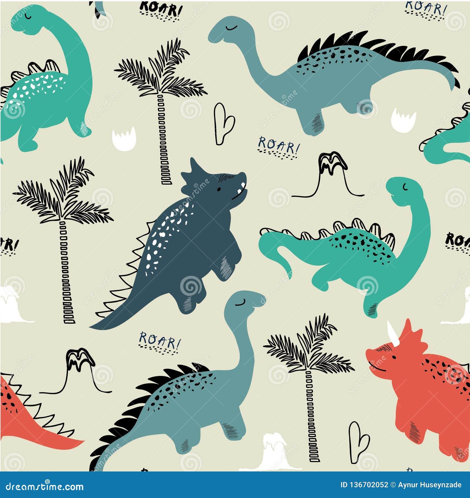 幼稚时尚衣裳的恐龙无缝的样式,织品,T恤杉 与字法的手拉的传染媒介