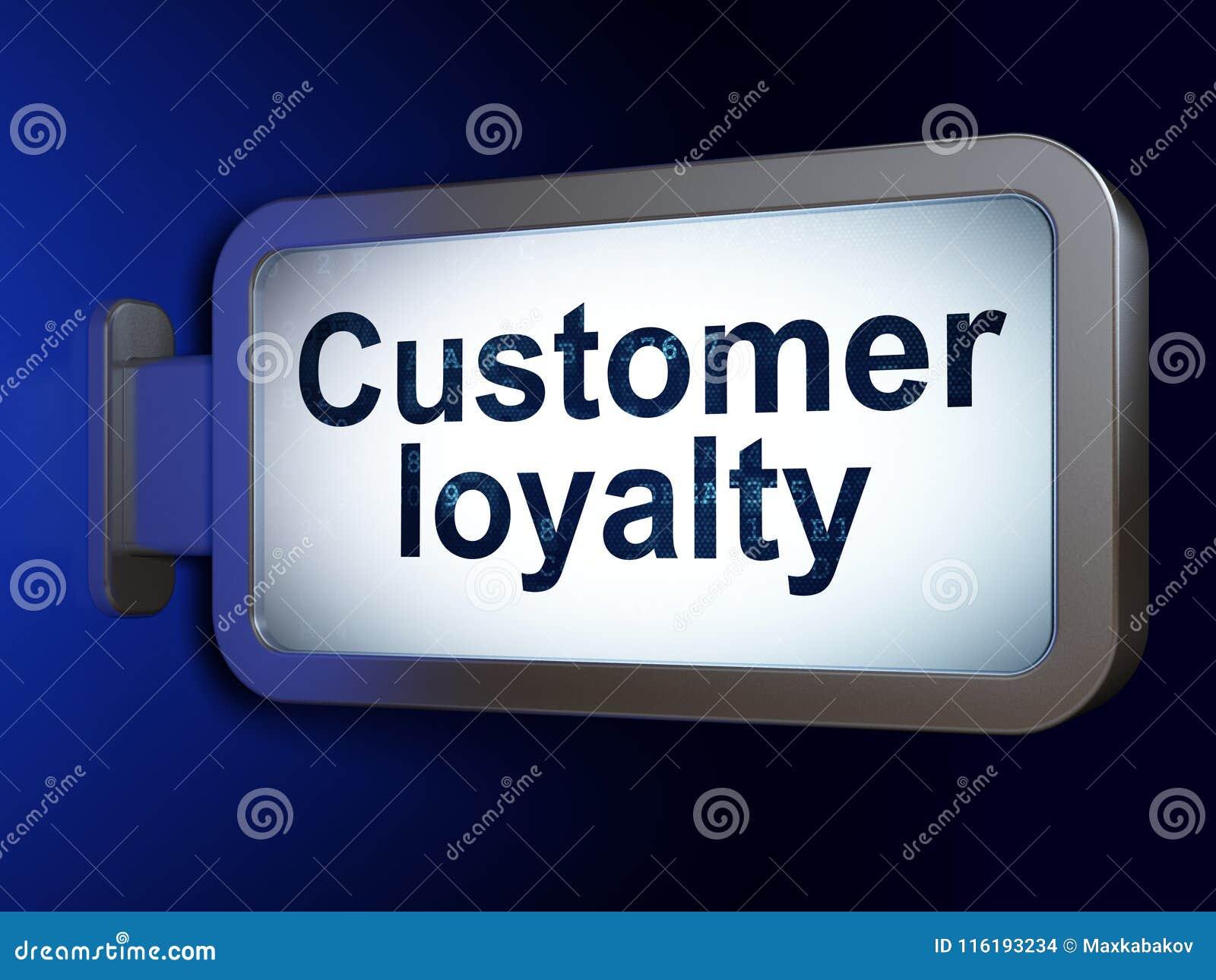广告概念:在广告牌背景的顾客忠诚