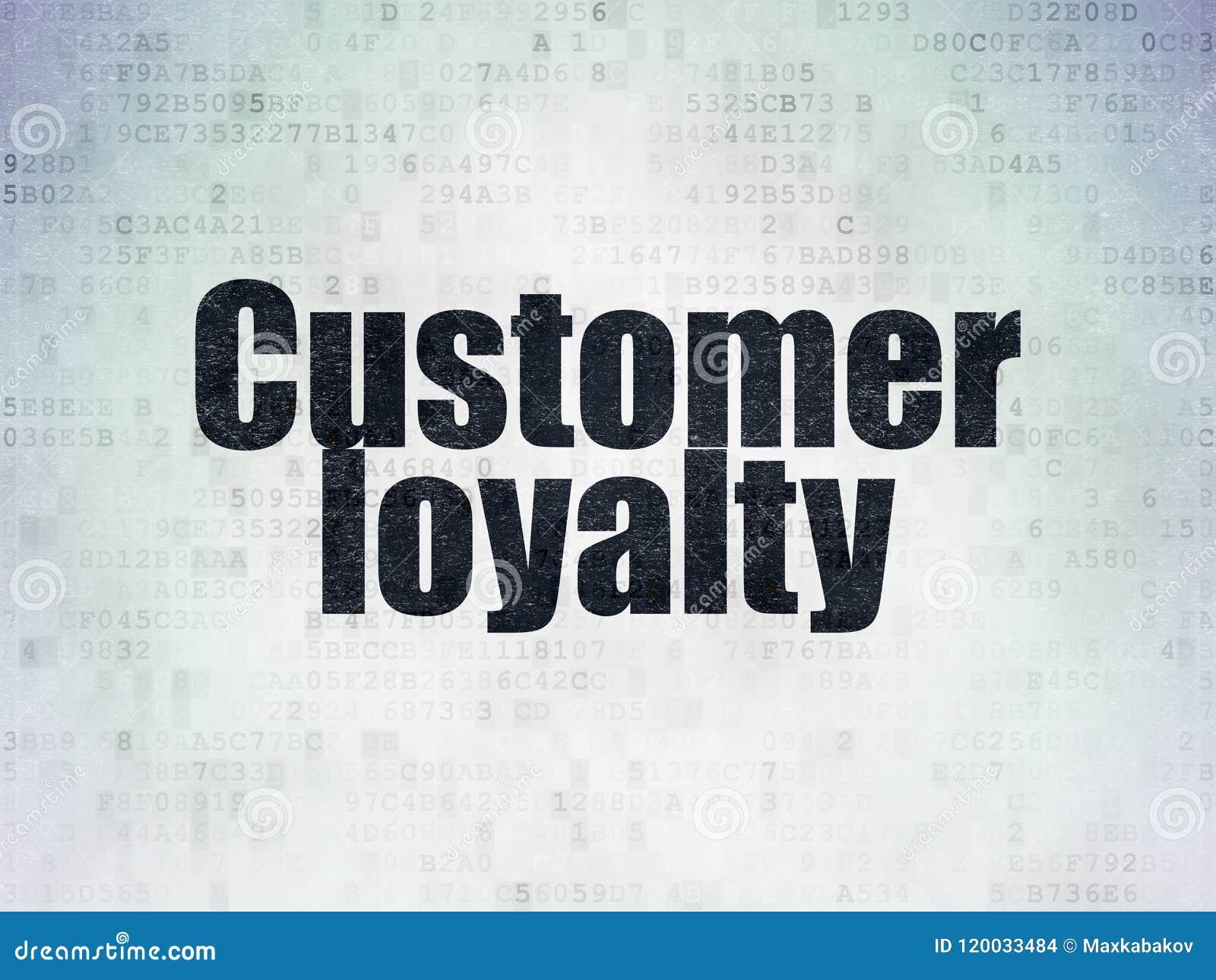 广告概念:在数字资料纸背景的顾客忠诚