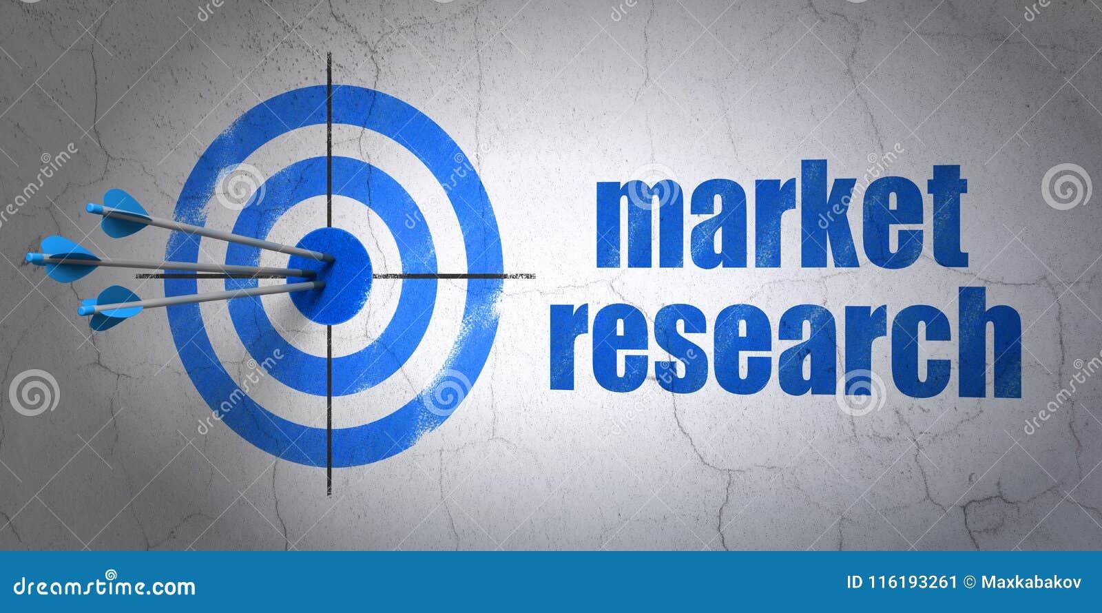 广告概念:目标和市场研究对墙壁背景