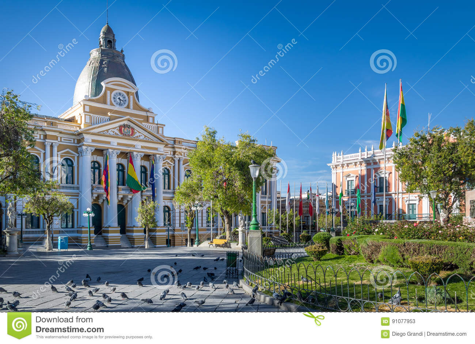 广场Murillo和政府的拉巴斯,玻利维亚玻利维亚的宫殿