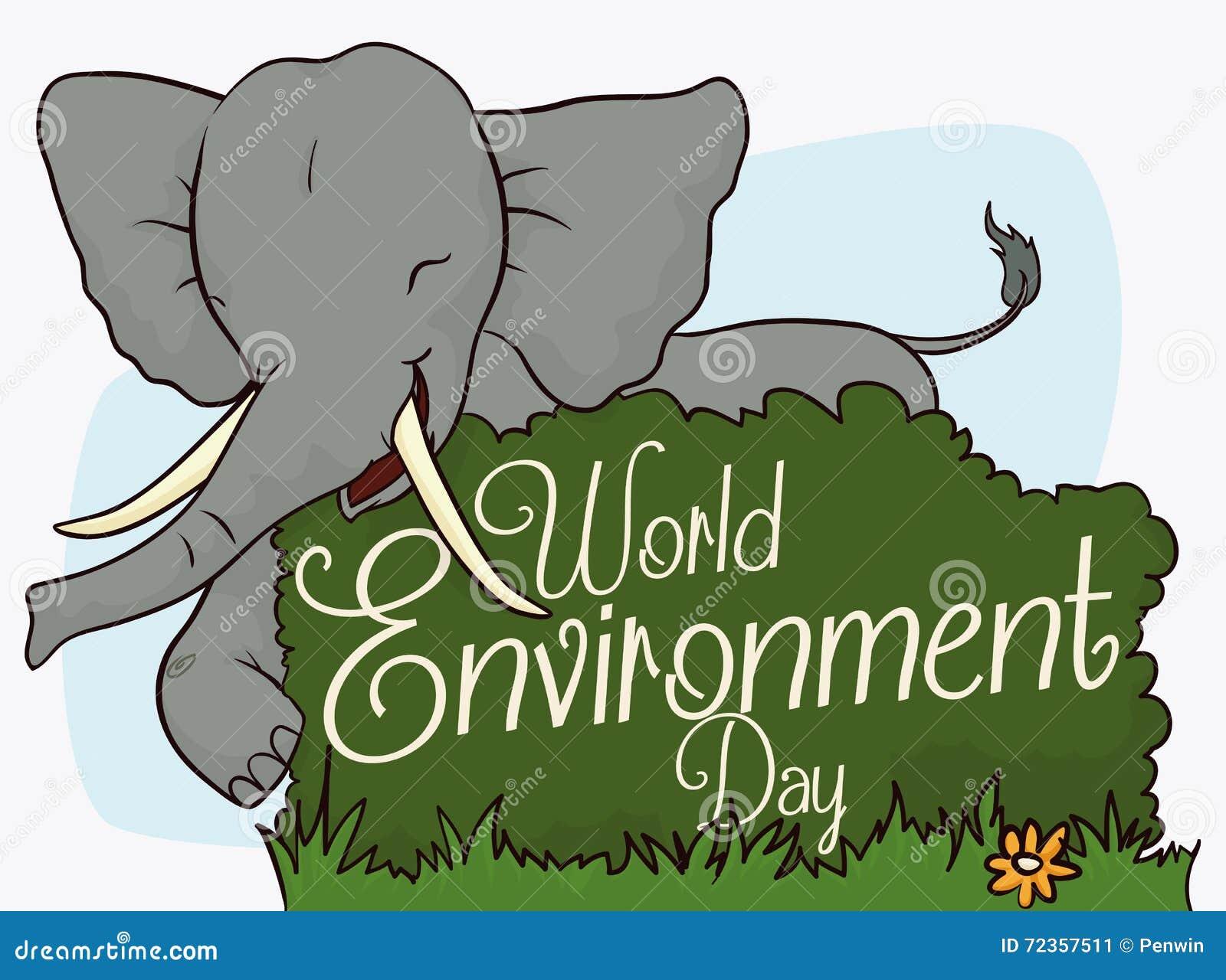 庆祝世界环境日,传染媒介例证的愉快的大象