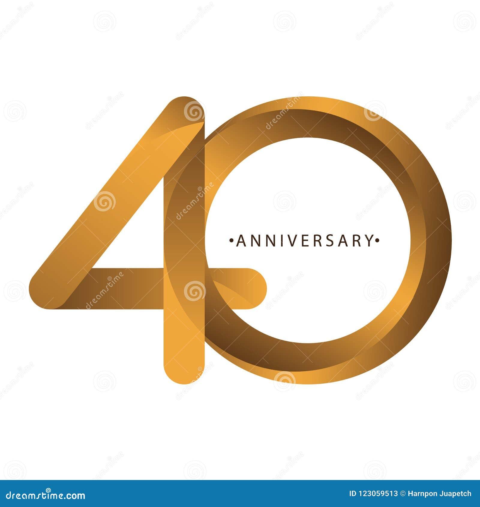 庆祝,数字第40年周年,生日周年  豪华二重奏口气金子褐色