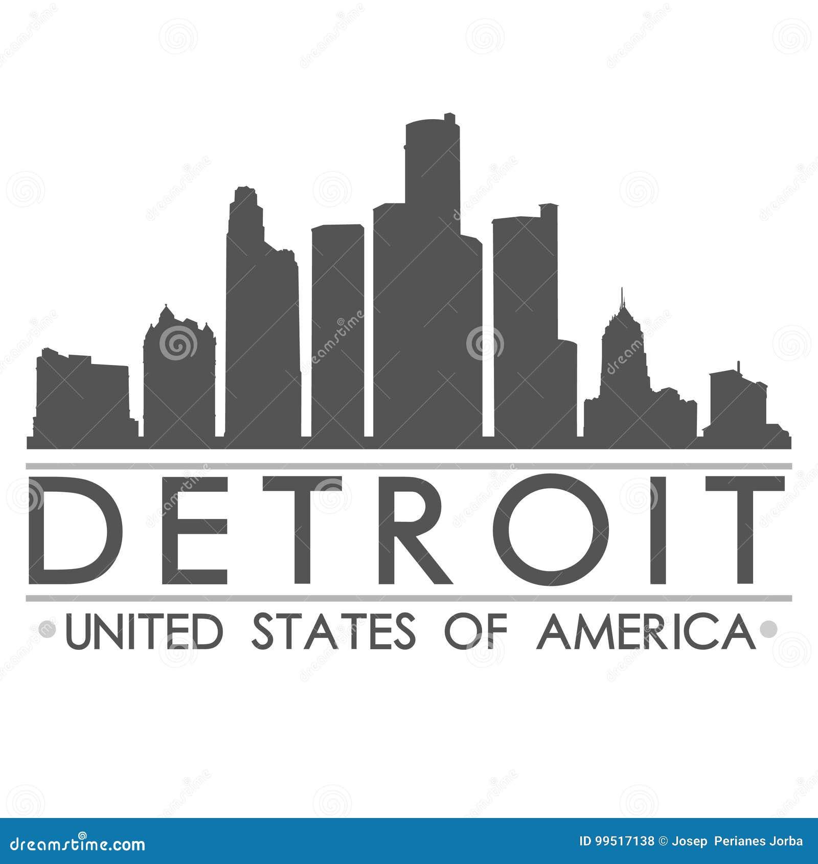 底特律地平线剪影设计城市传染媒介艺术