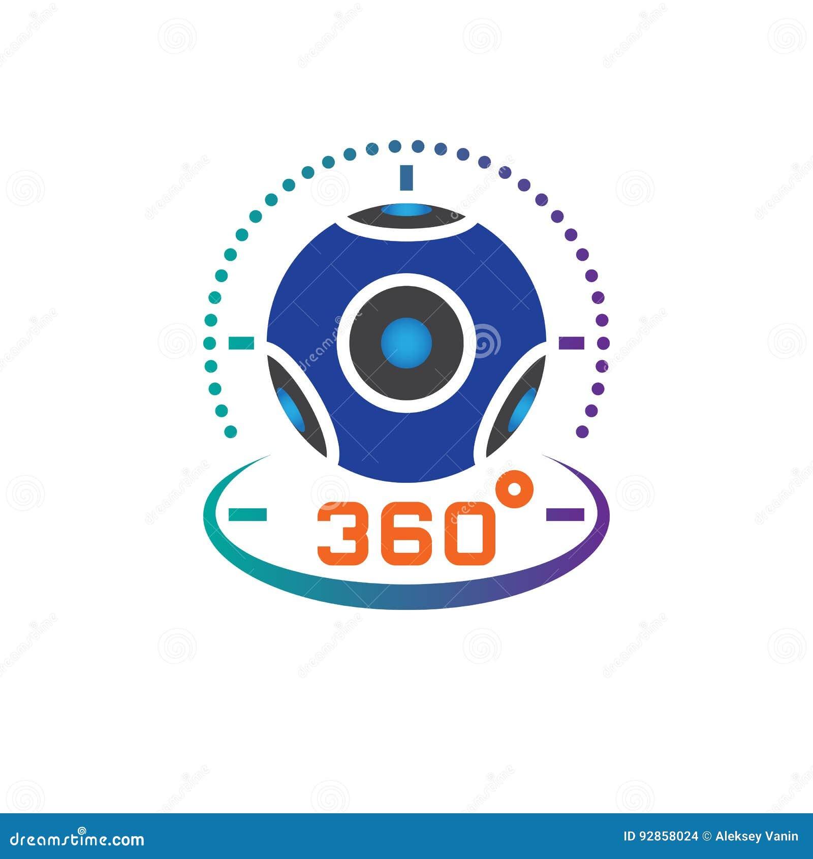 360度全景摄象机象传染媒介,虚拟现实设备坚实商标例证,在白色隔绝的图表