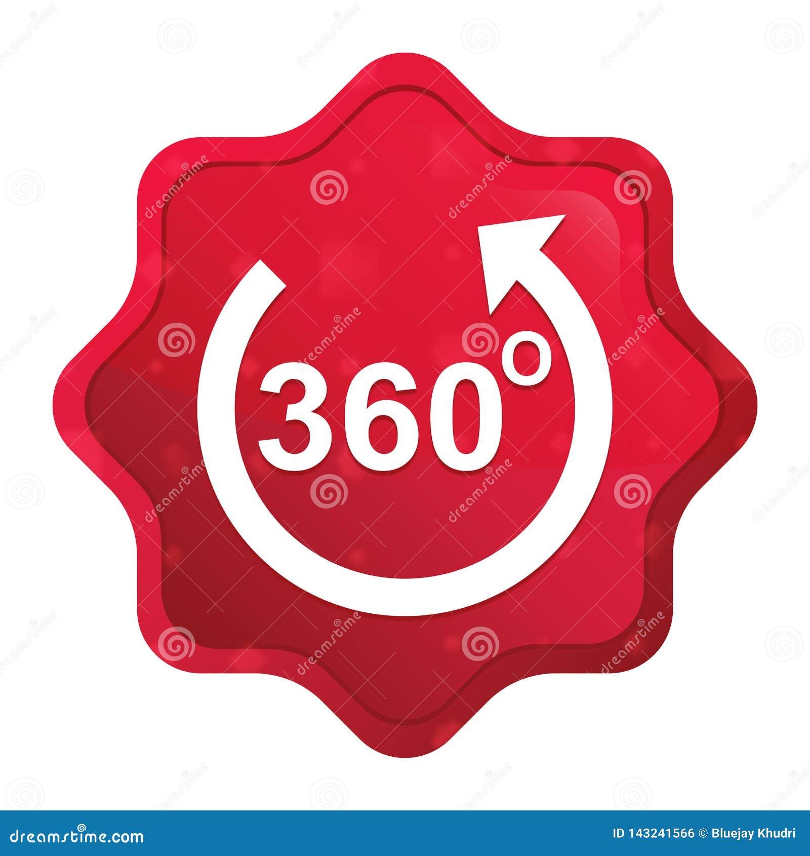 360度转动箭头象有薄雾的玫瑰红的starburst贴纸按钮