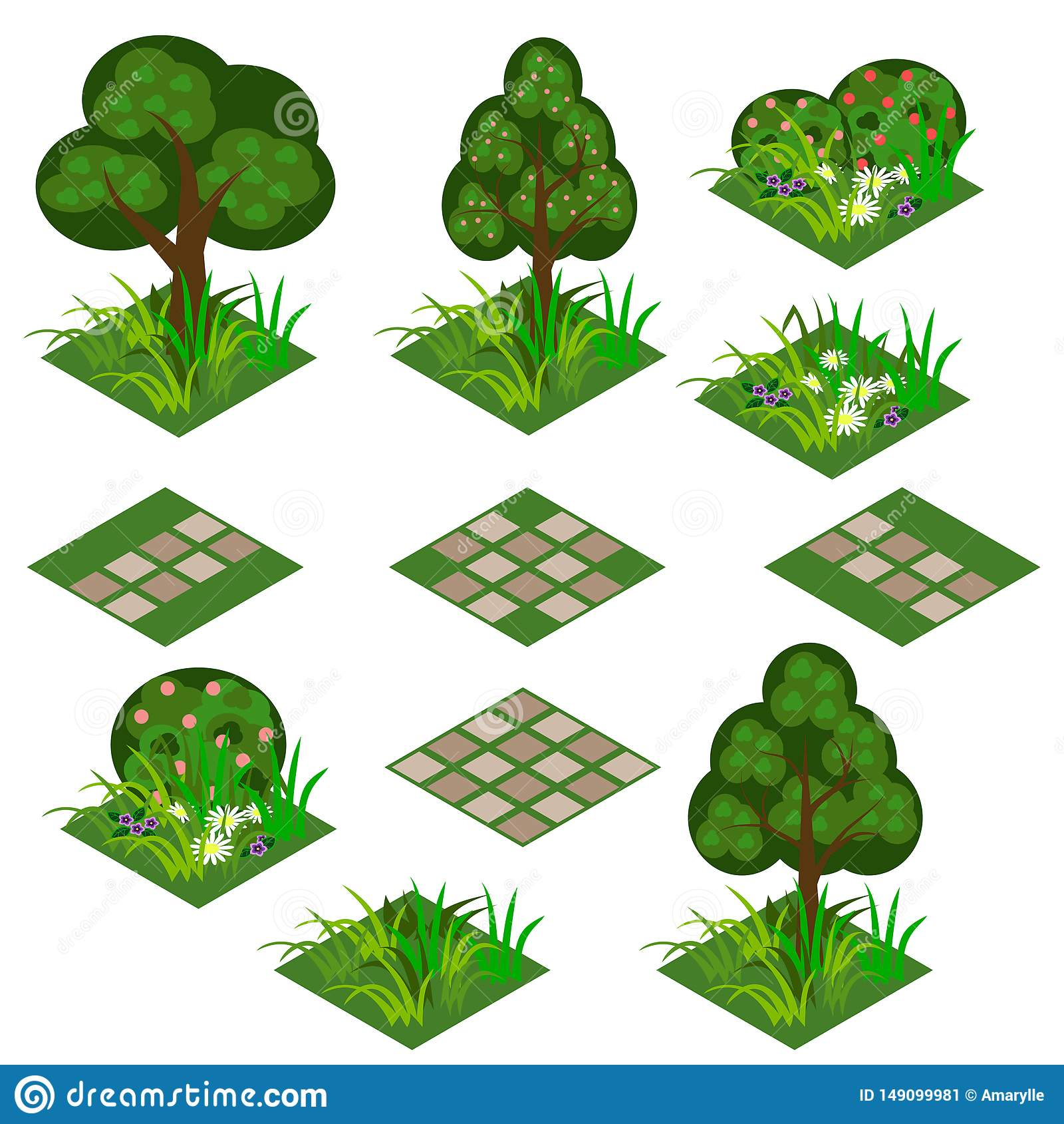 庭院或农厂等量瓦片集合