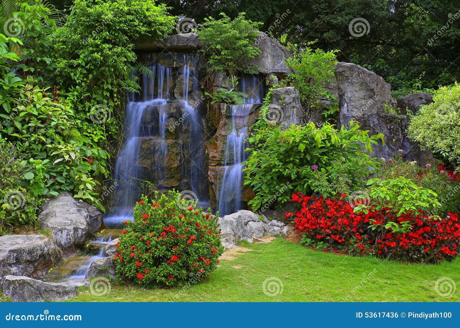 庭院热带瀑布图片