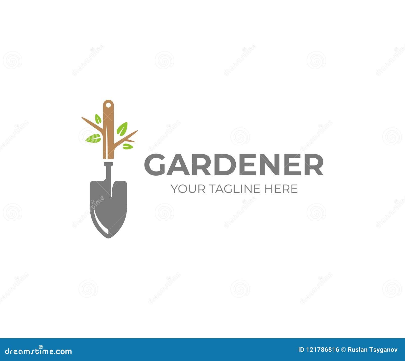 庭院铁锹和树与绿色叶子商标模板 庭园花木,园艺工具传染媒介设计