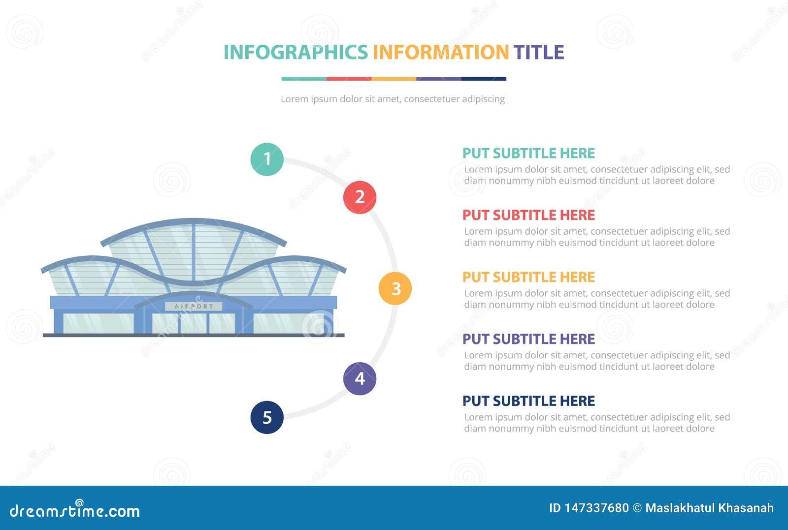 建立与五点的机场infographic模板概念列出和各种各样的颜色有干净的现代白色背景-传染媒介