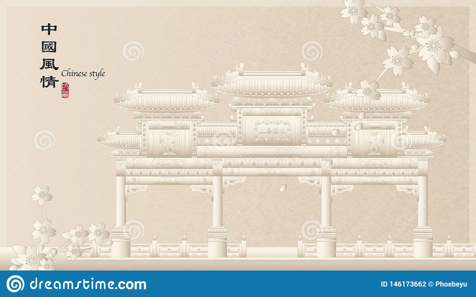 建筑学纪念拱道和佐仓樱花典雅的减速火箭的中国风格背景模板乡下风景