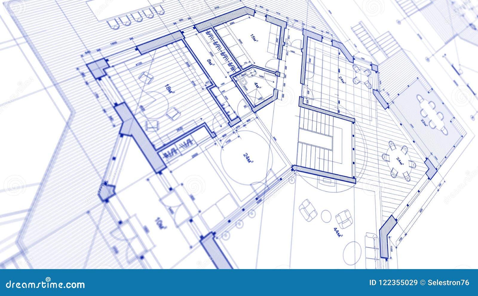 建筑学设计:图纸计划-计划mod的例证
