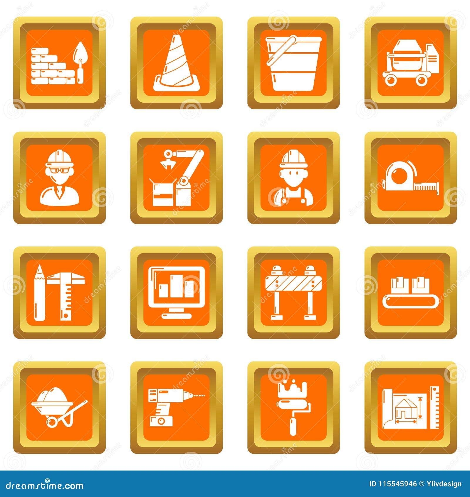 建设进程象被设置的橙色方形的传染媒介