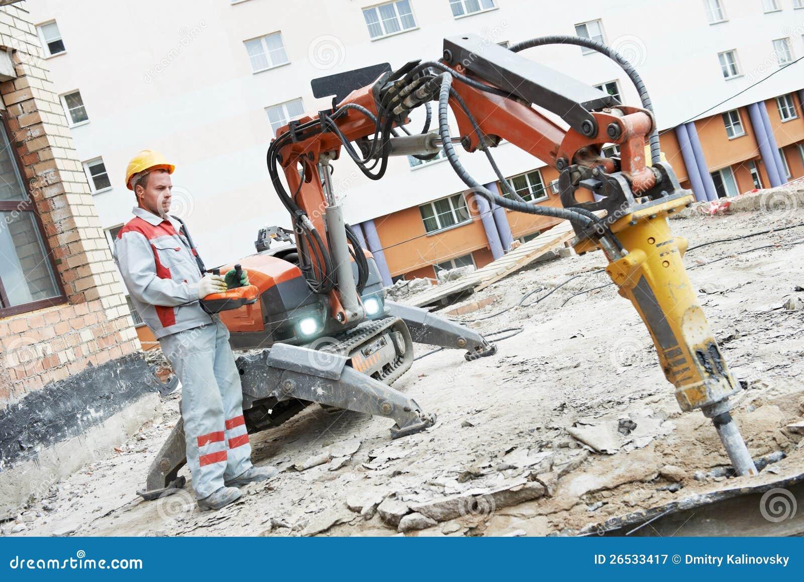 建造者工作者运行爆破设备