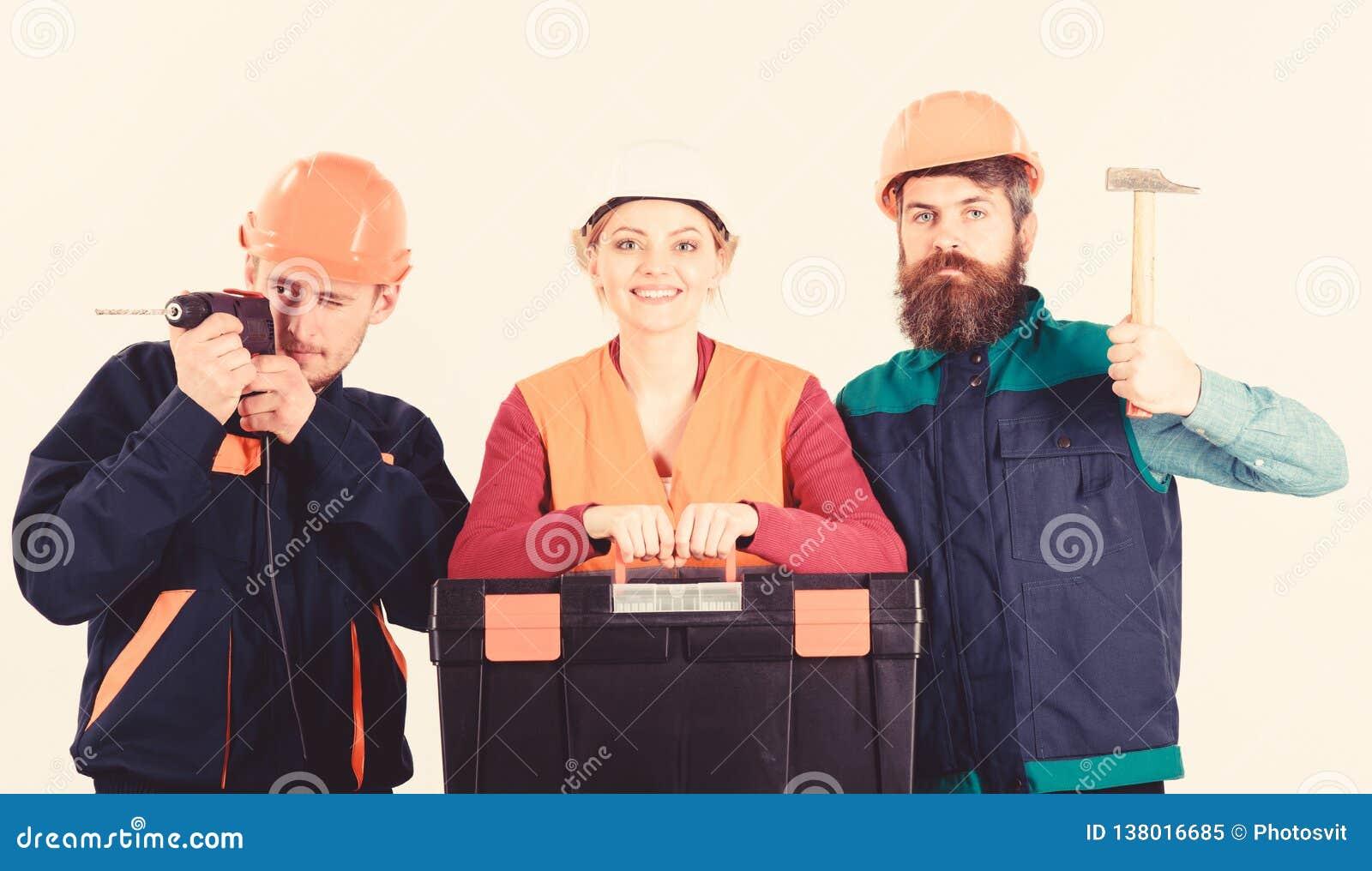 建造者队,安装工,有工具箱的,锤子,钻子杂物工