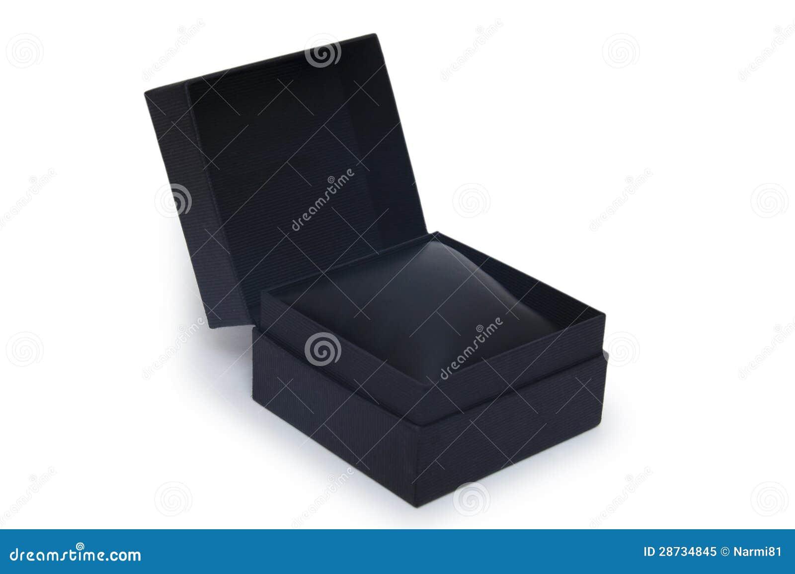 开张在白色查出的黑色礼物盒