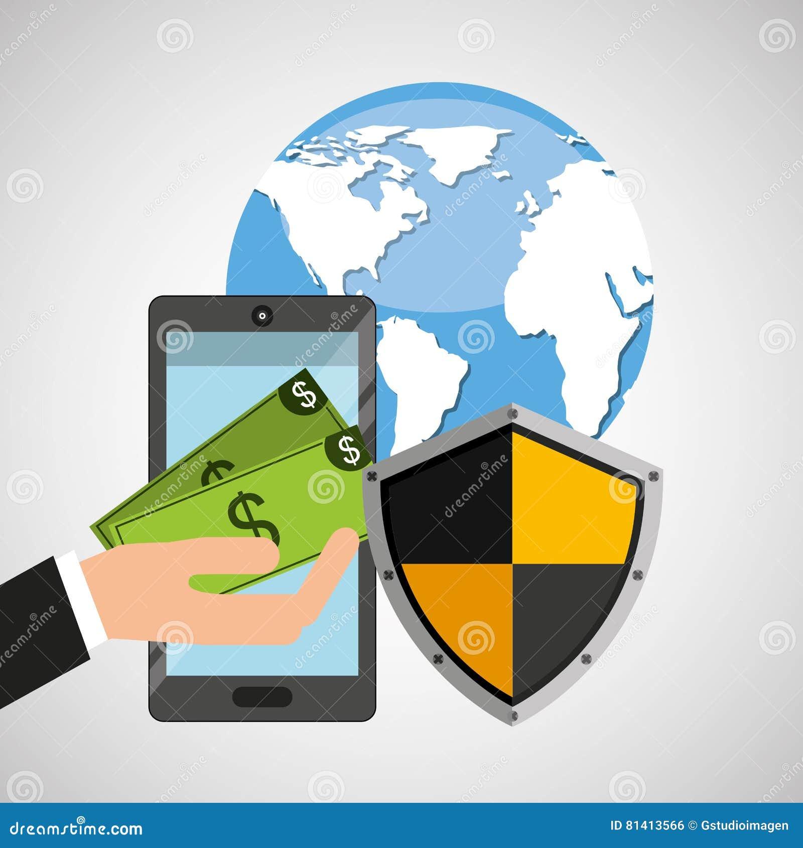 开户安全盾保护的智能手机金钱