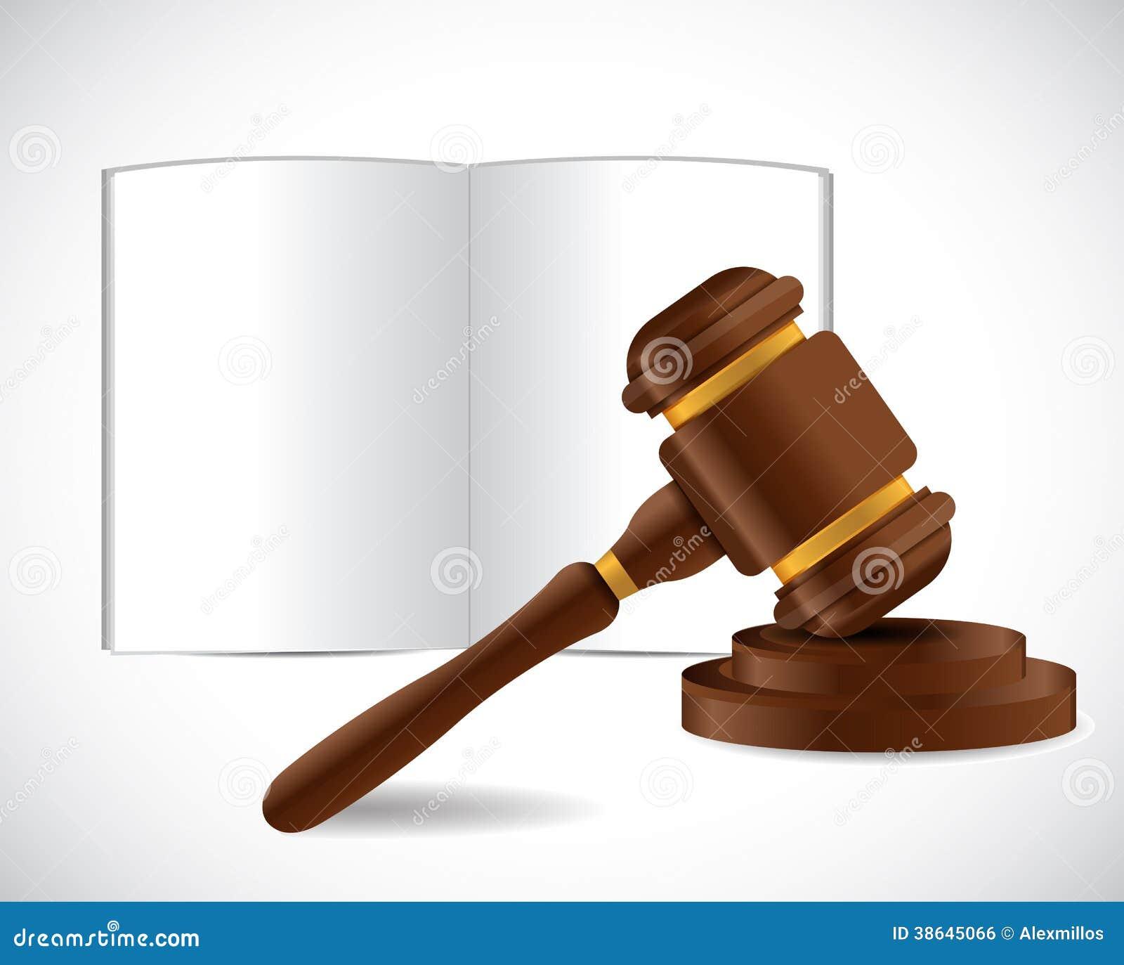 开放书和法律锤子例证设计