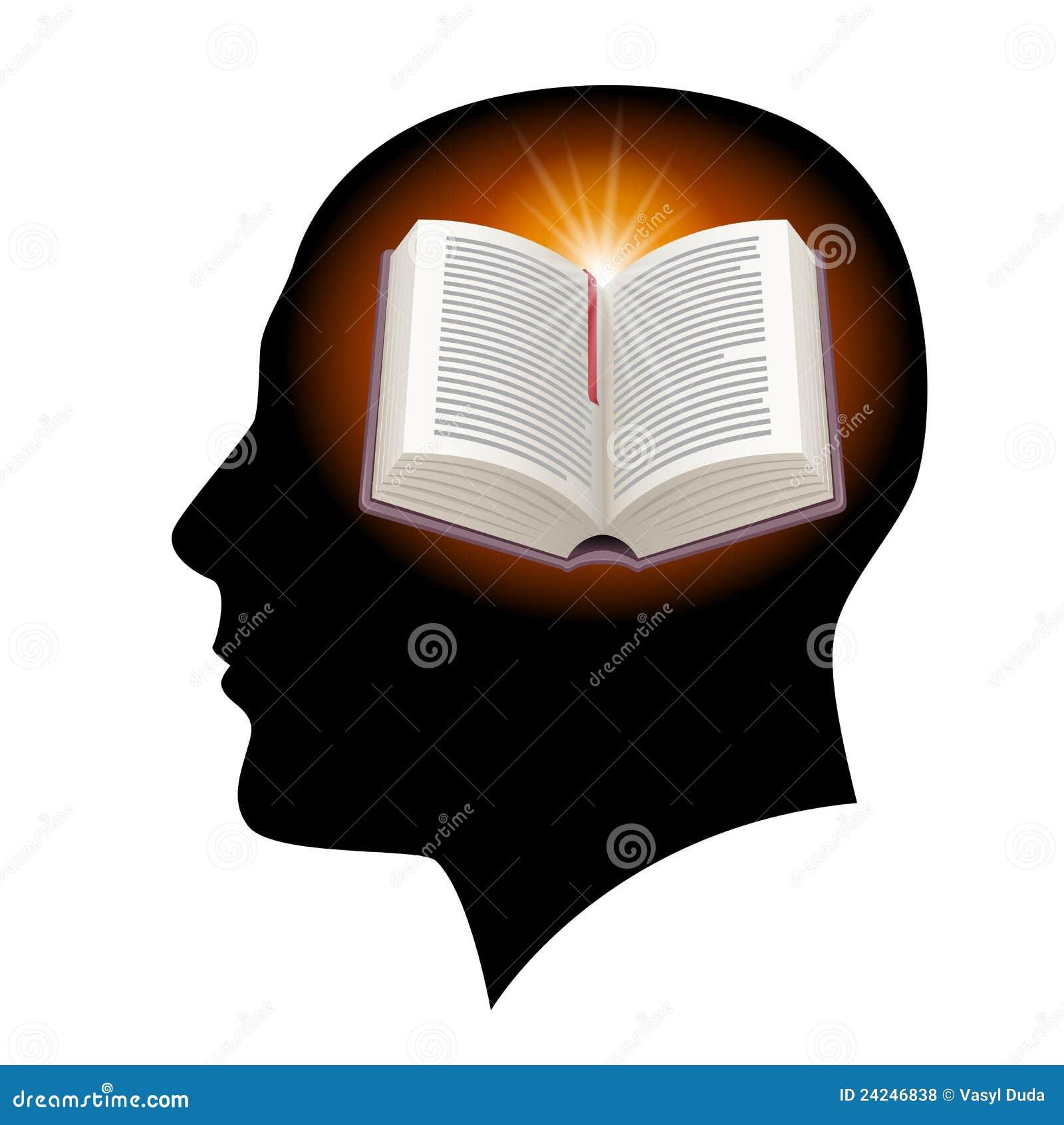 开放书顶头的男