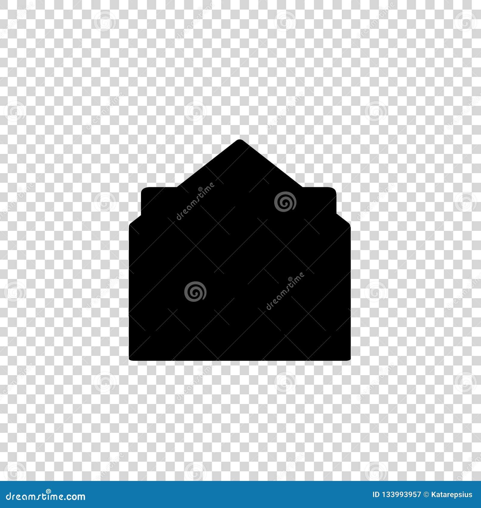 开放信封黑象剪影与文件的在透明背景