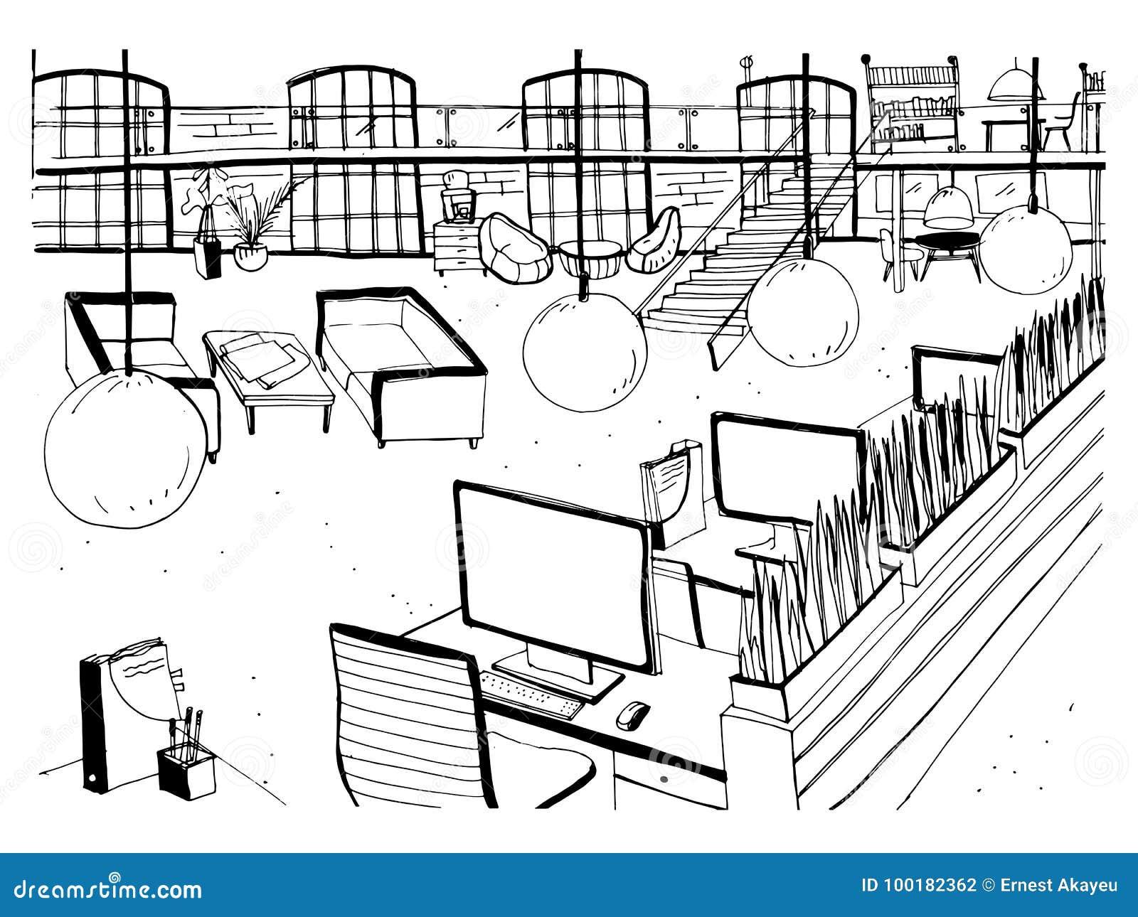开放共同工作的空间内部单色图画与书桌、计算机、椅子和其他现代陈设品的 手