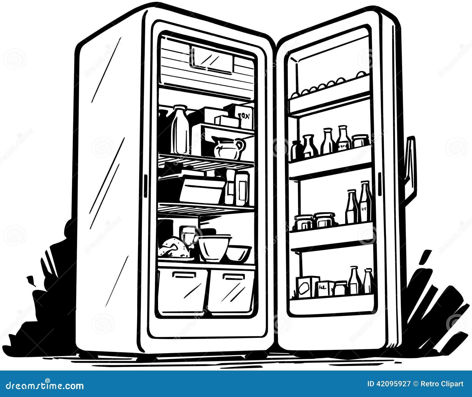 开放的冰箱图片