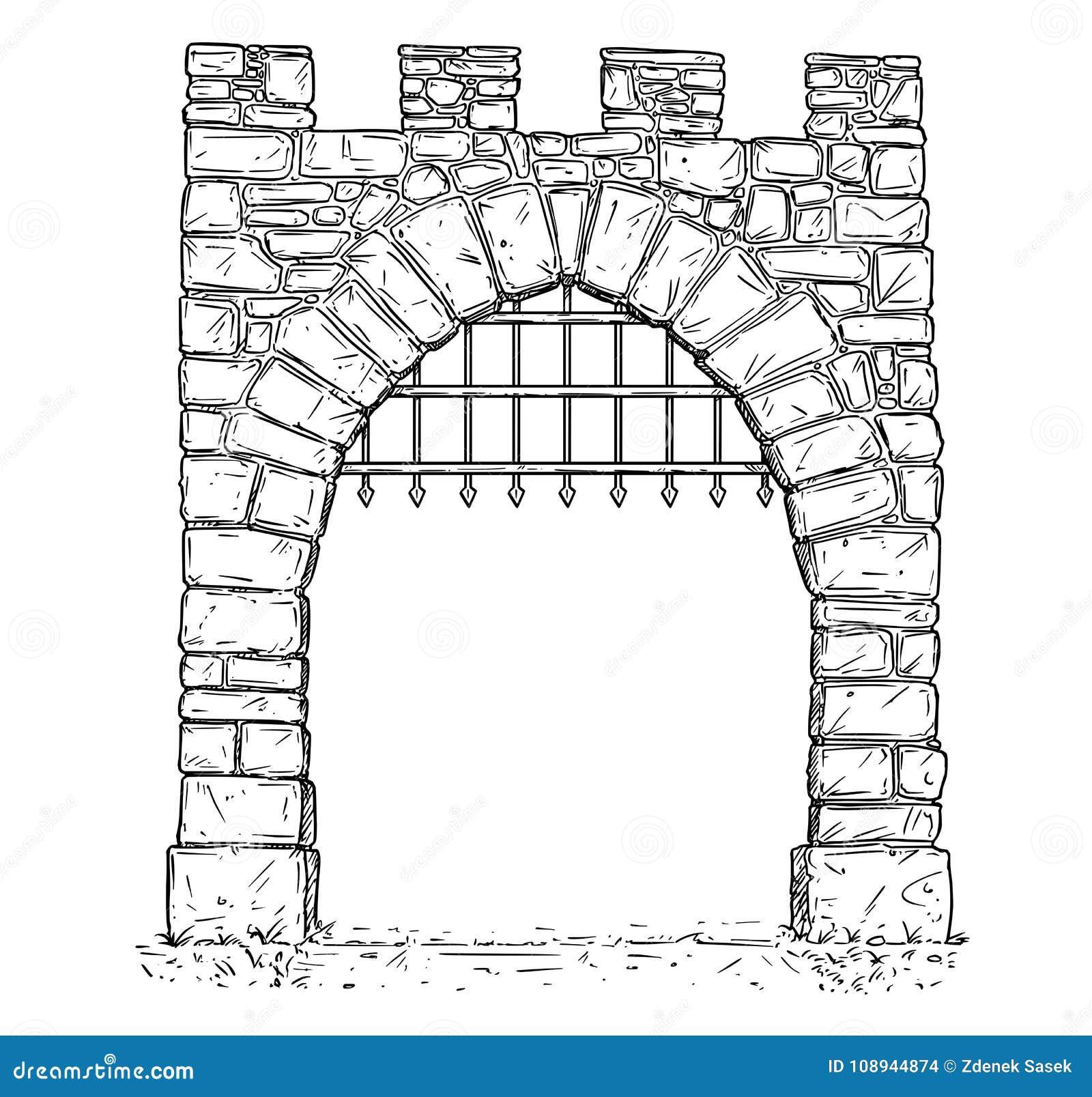 开放石中世纪决定门动画片传染媒介有钢棍的