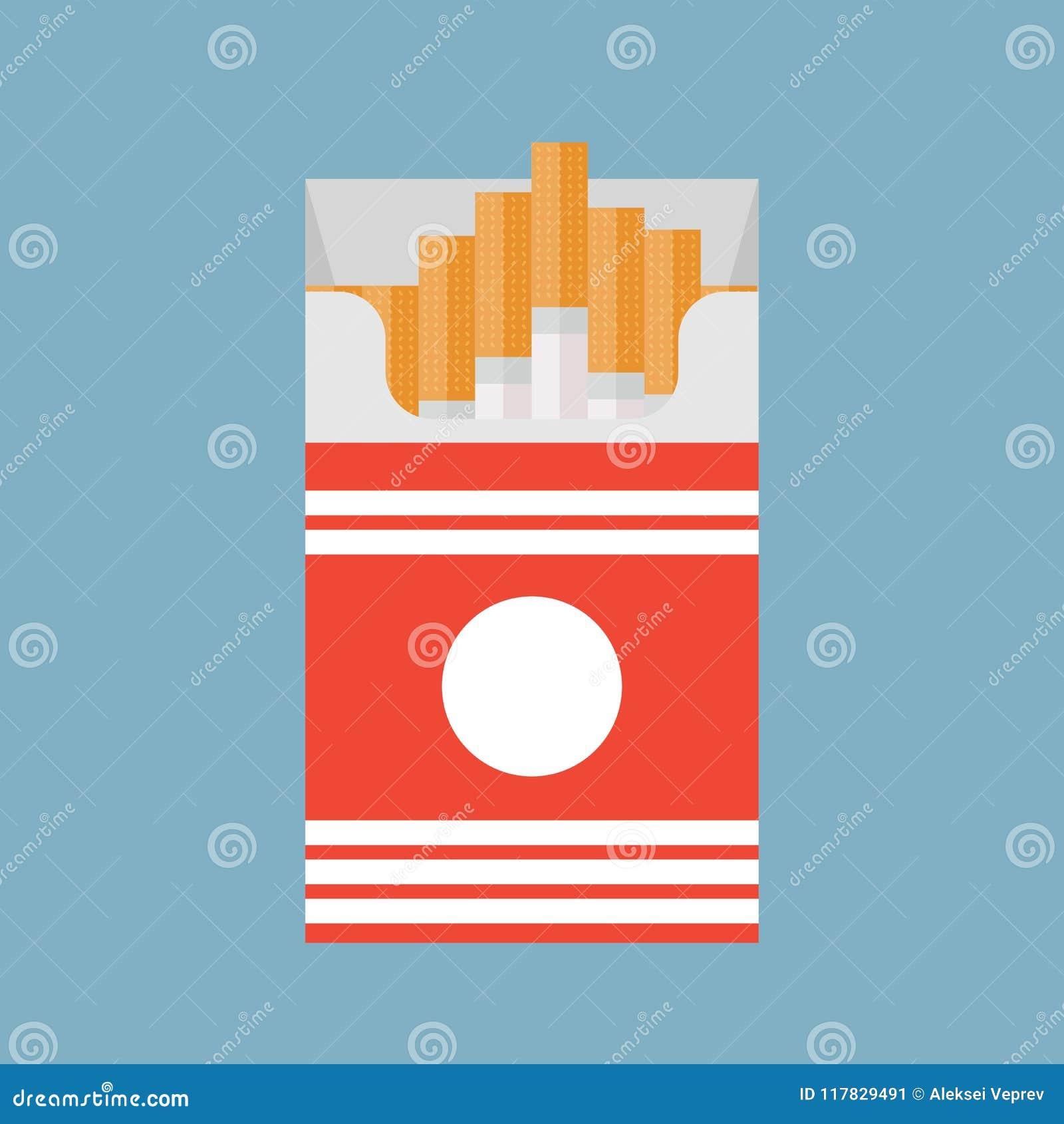开放香烟包装在背景隔绝的箱子平的样式传染媒介例证,