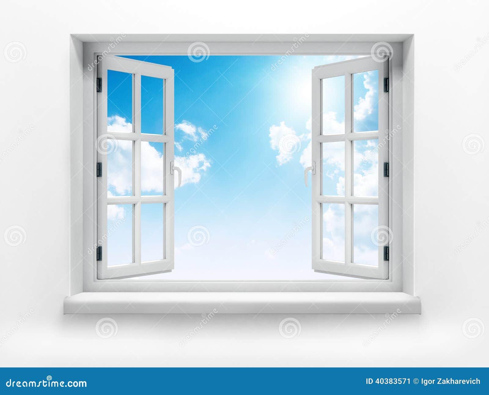 开窗口对白色墙壁和多云