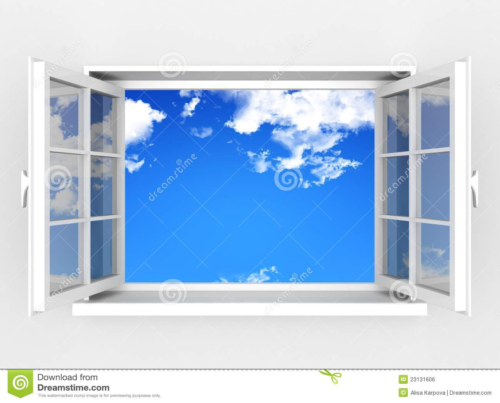 开窗口对空白墙壁和多云天空