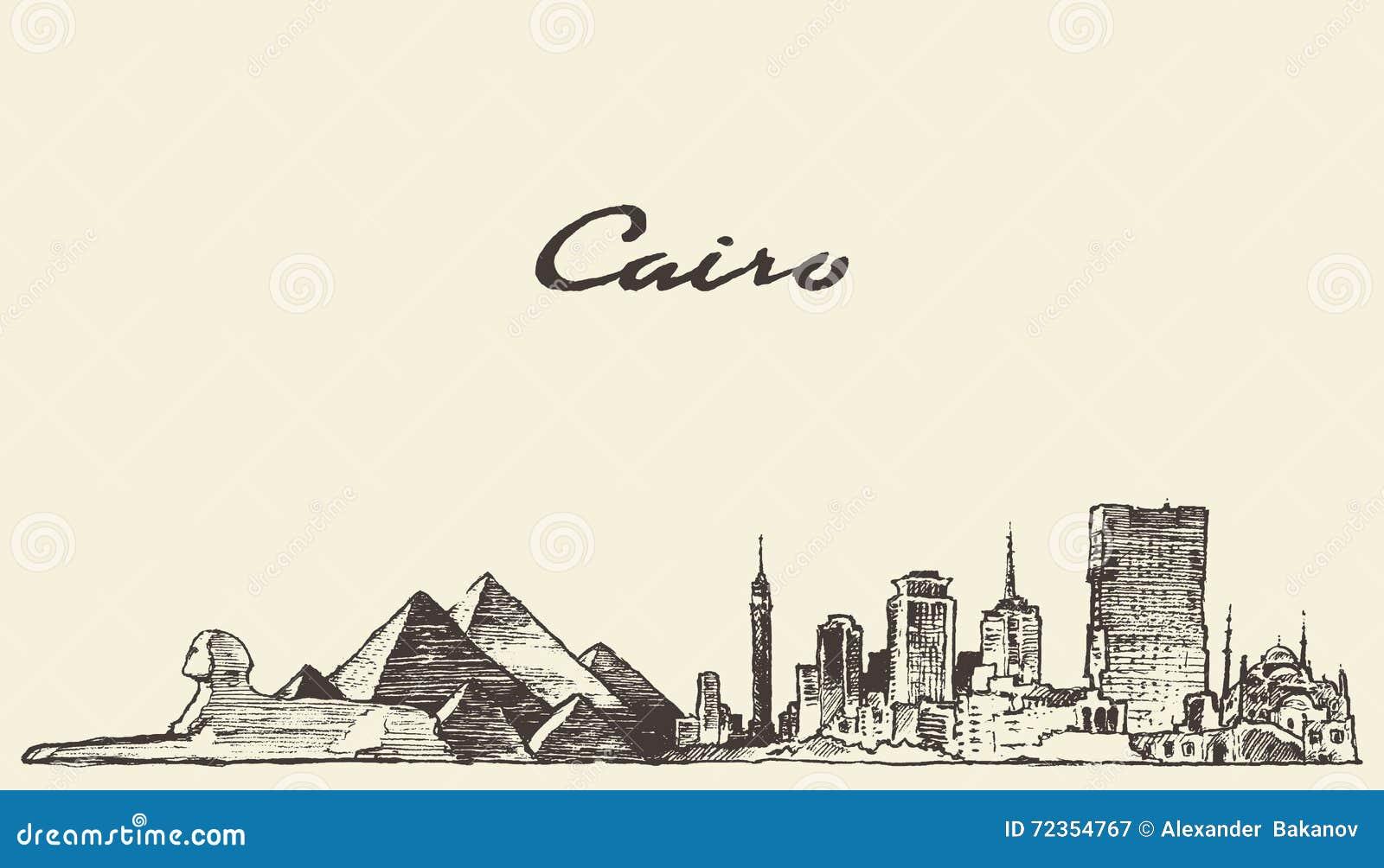 开罗地平线埃及例证被画的剪影
