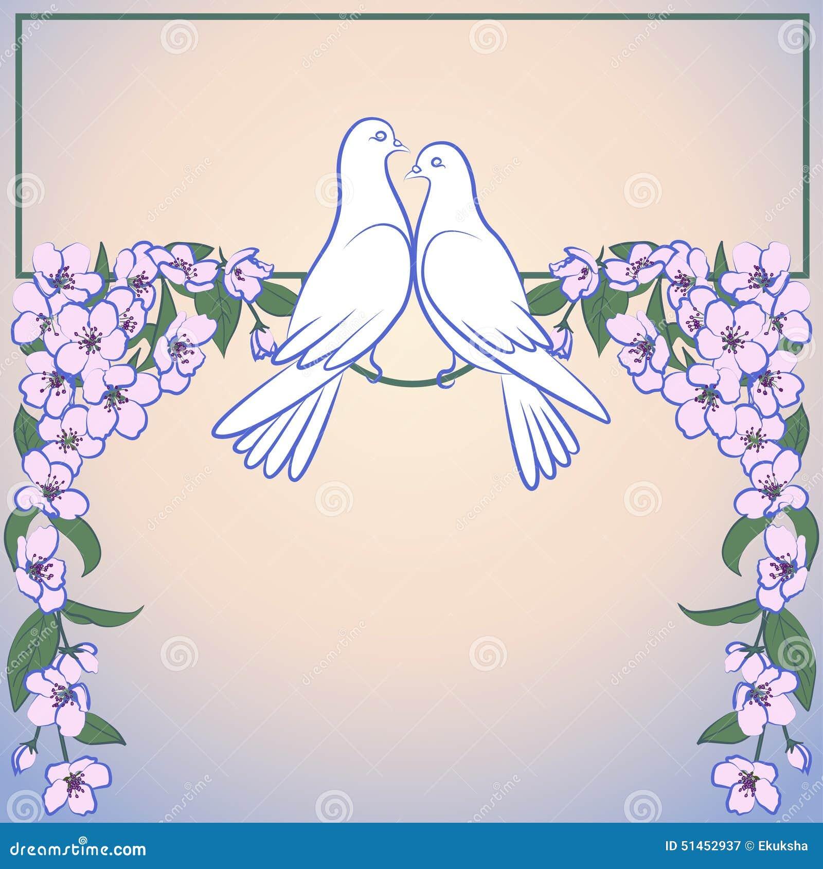 开花的苹果树两白色鸠和装饰