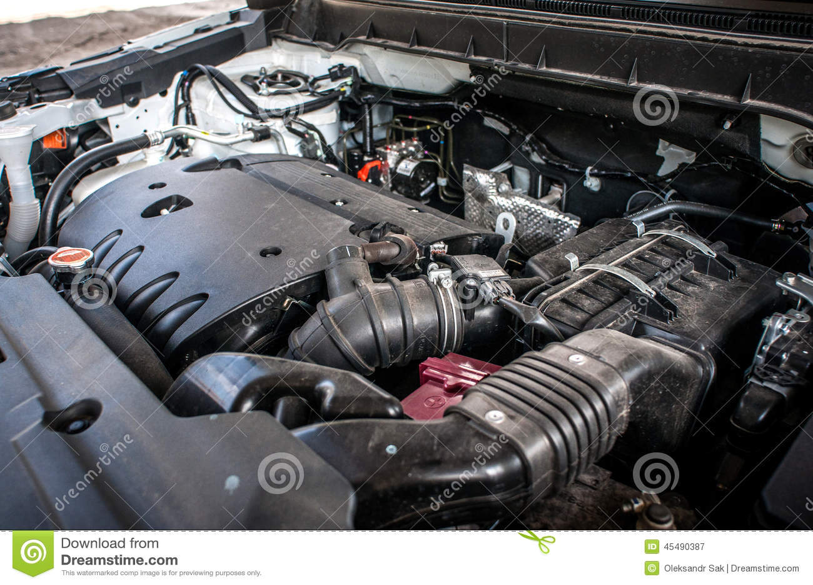 引擎昂贵的汽车特写镜头