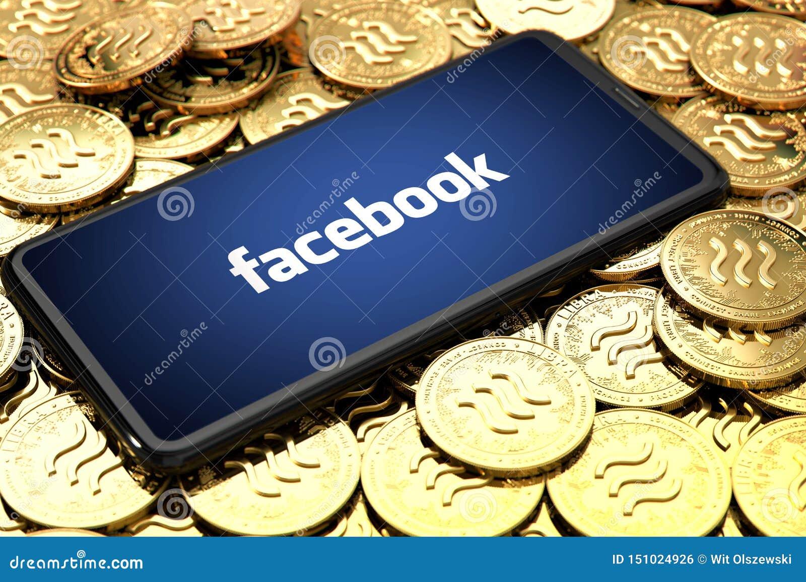 弗罗茨瓦夫,波兰- 2019年6月20日:Facebook宣布天秤座cryptocurrency 有facebook商标的智能手机在屏幕上放置