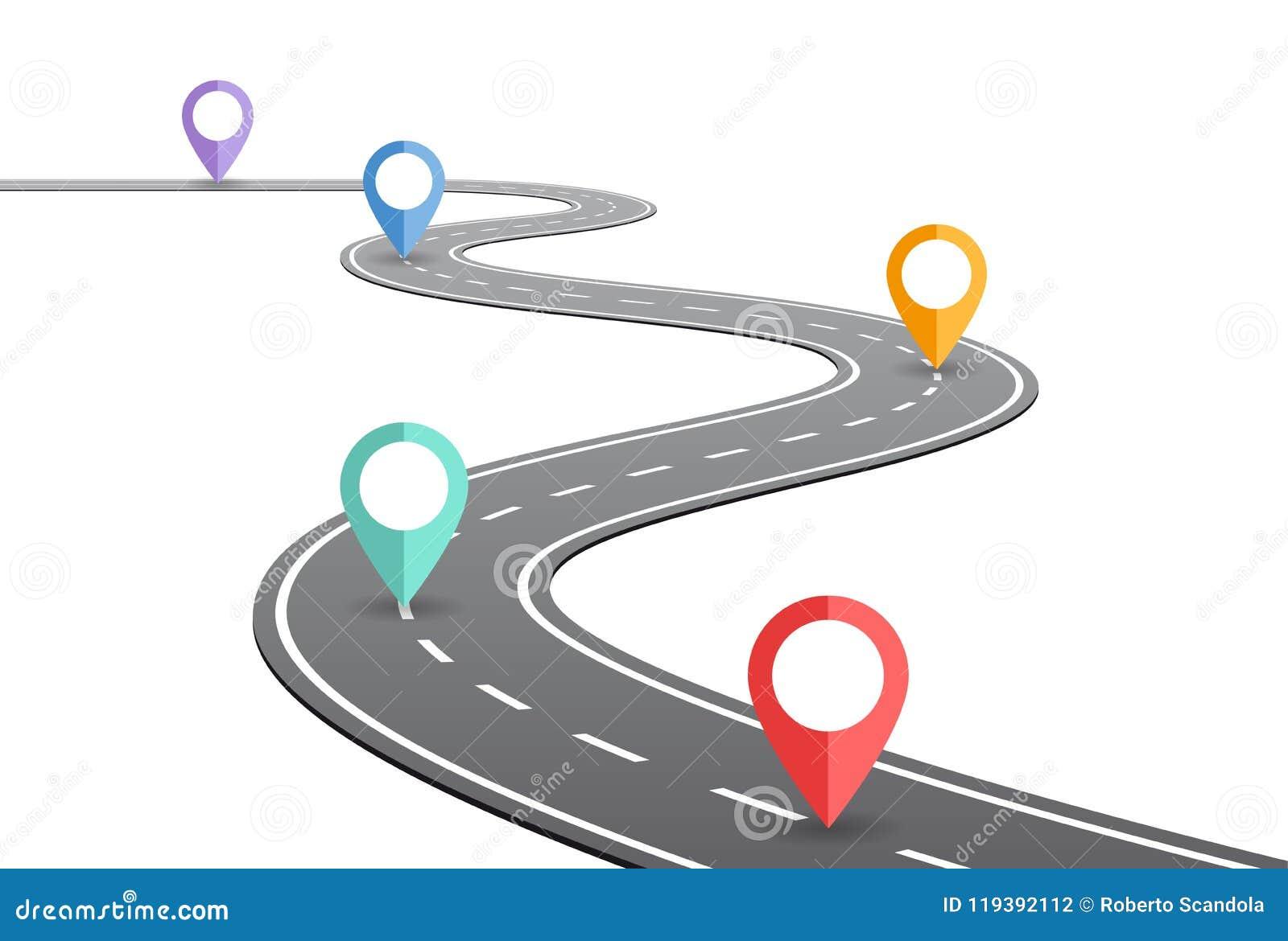 弯曲道路时间安排概念