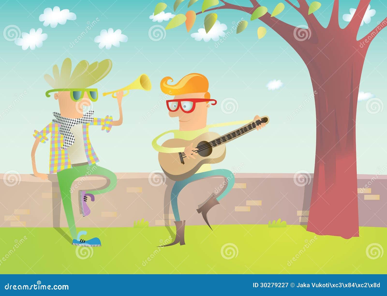 弹吉他和喇叭的二个行家