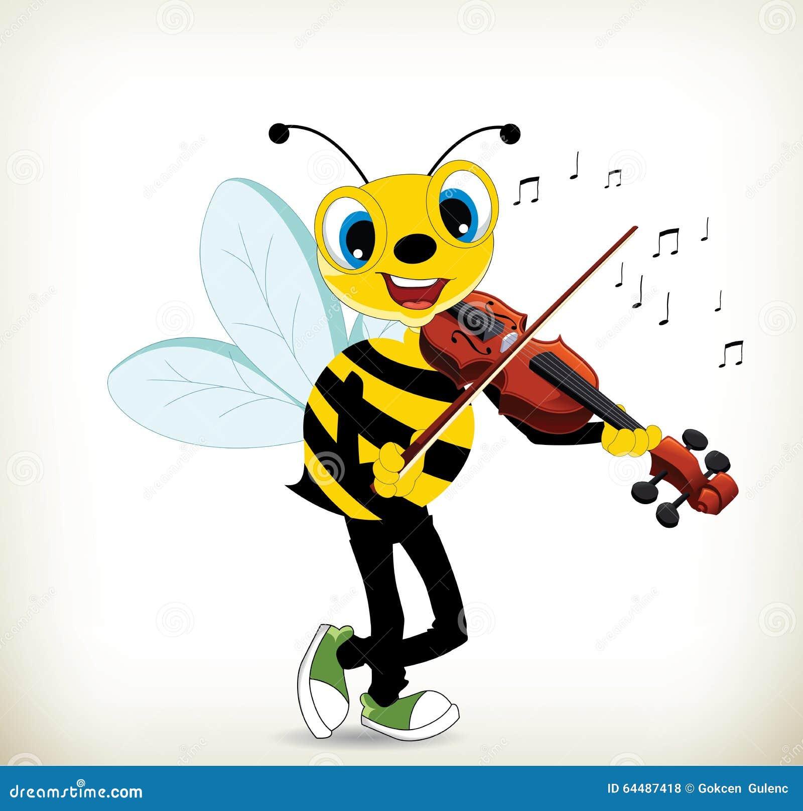 弹小提琴的动画片蜂.图片