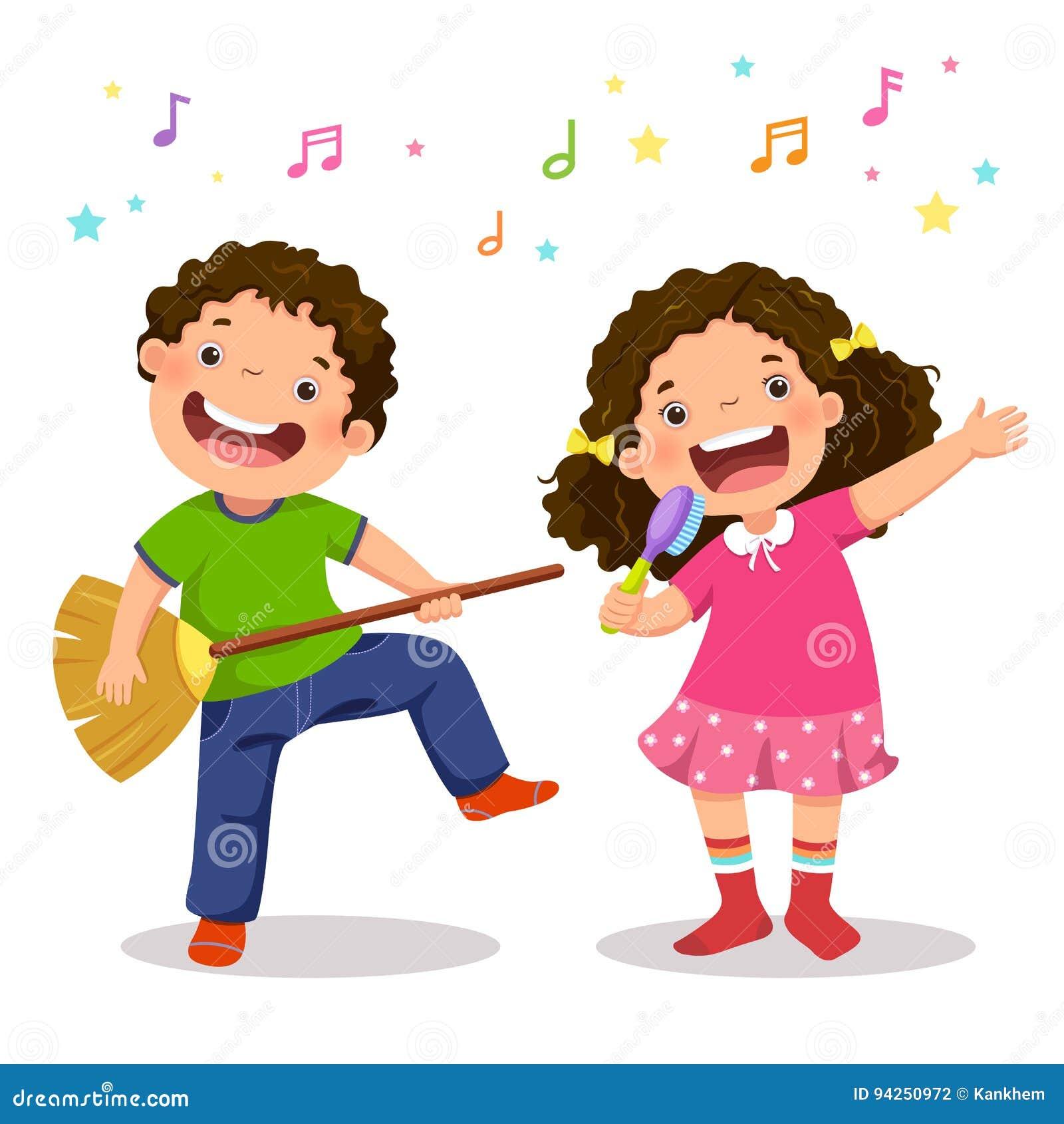 弹有笤帚和女孩唱歌的创造性的男孩真正吉他
