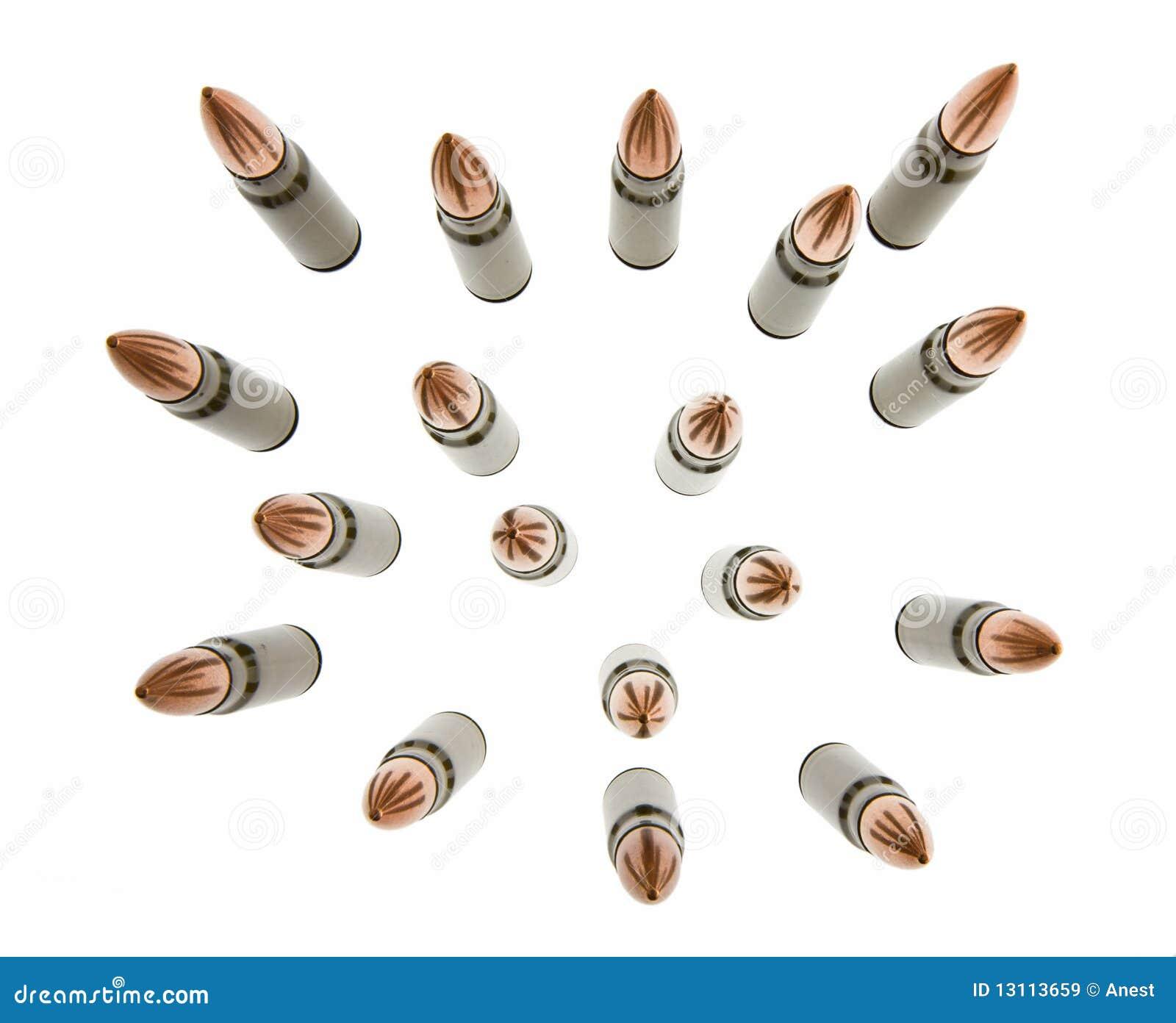 弹药筒查出卡拉什尼科夫集合白色