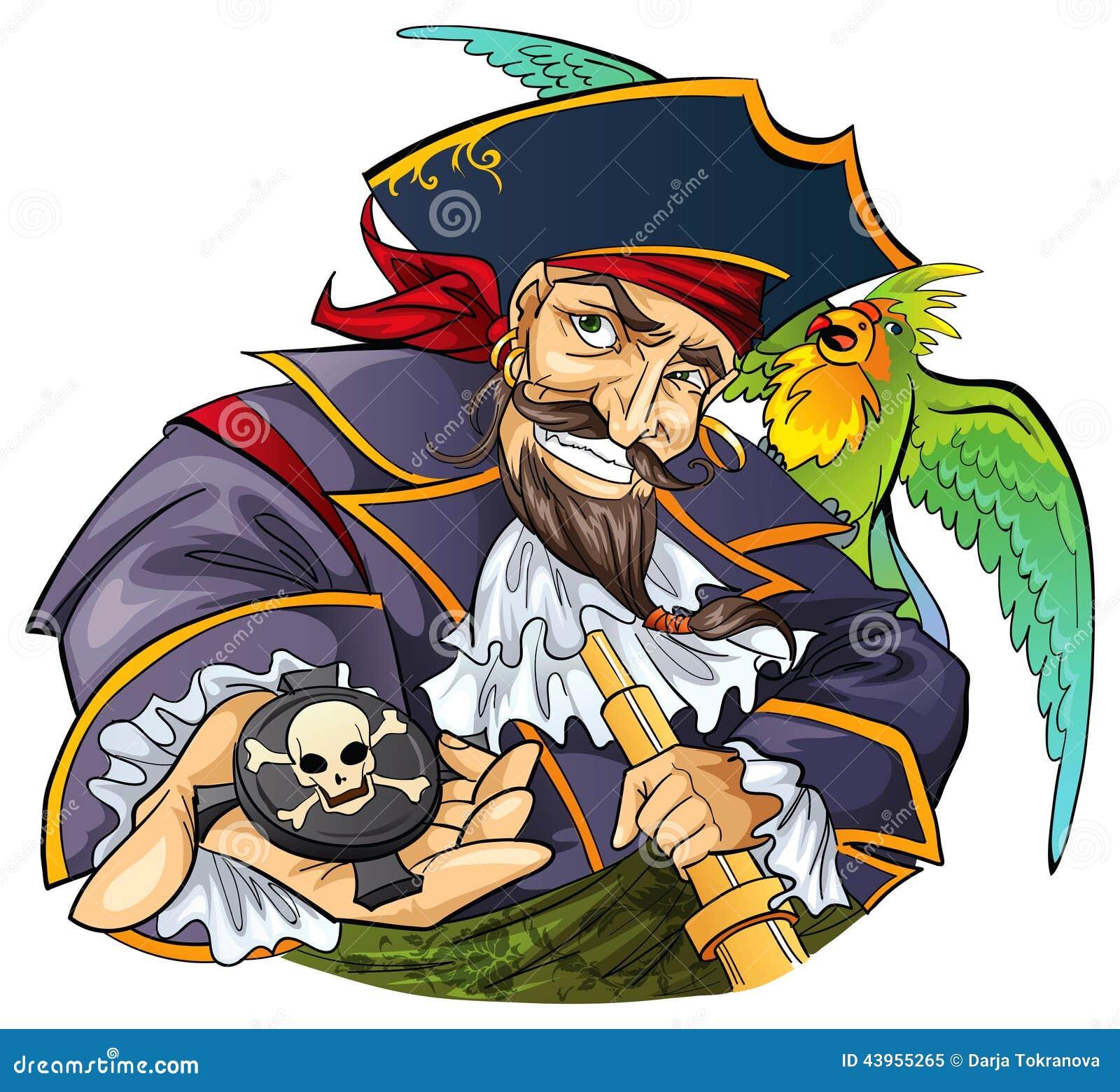 海盗和鹦鹉_有他的鹦鹉宠物的动画片海盗.