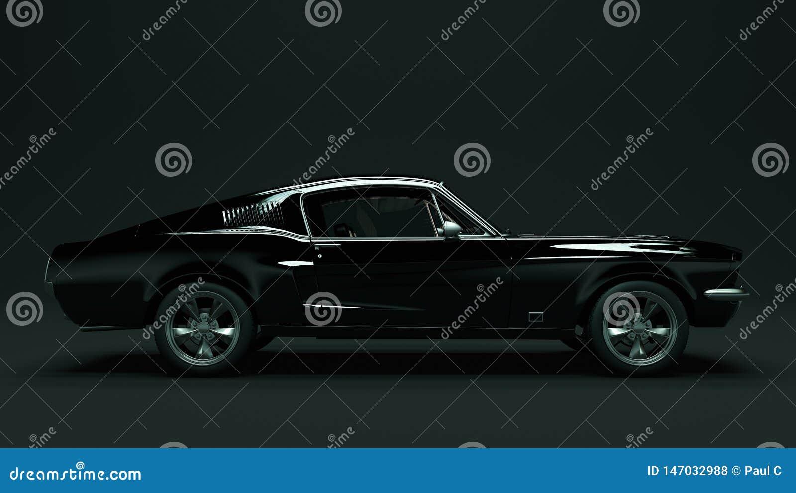 强有力的黑肌肉汽车
