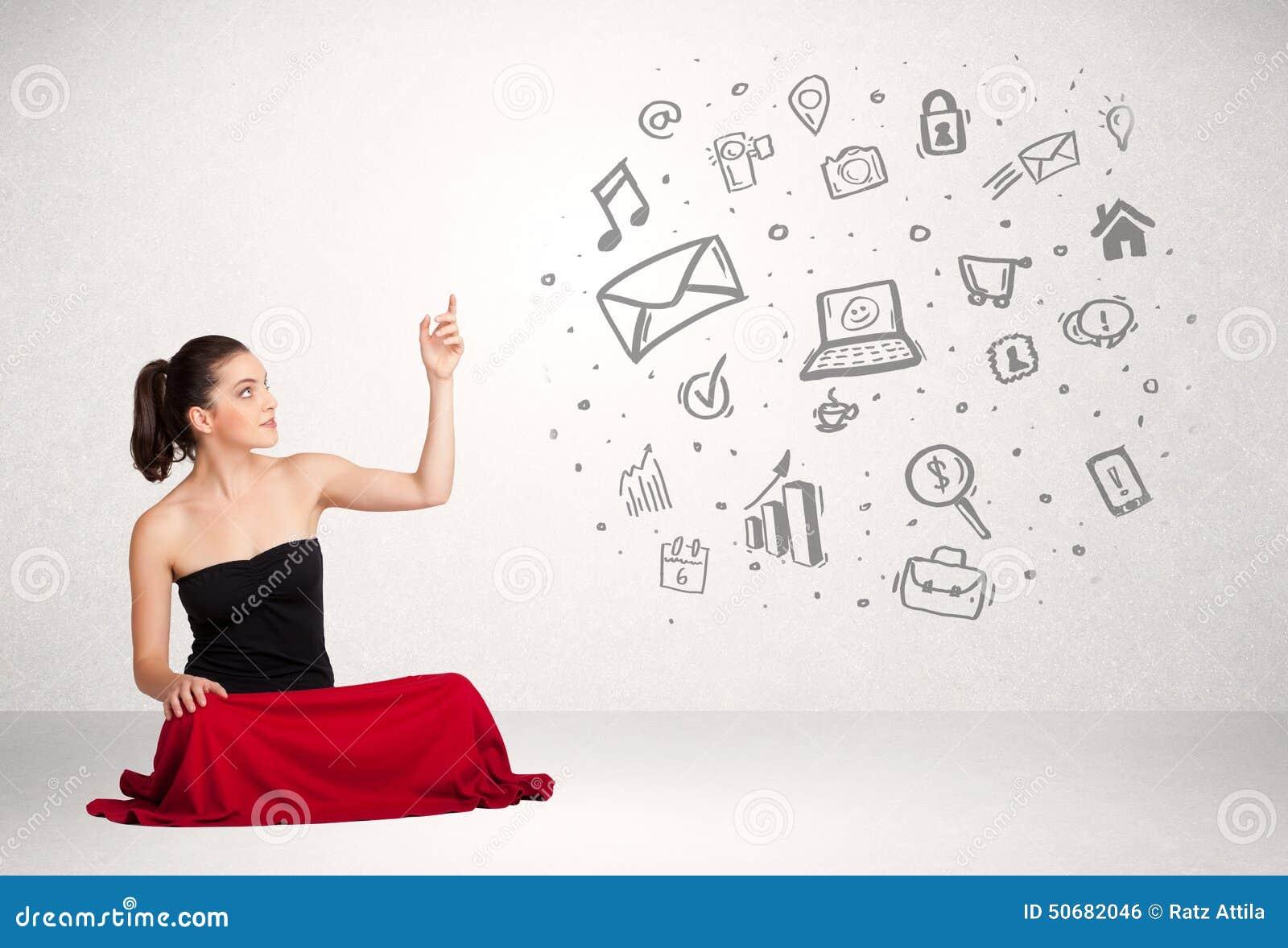 Download 当前手拉的媒介象的年轻女商人 库存例证. 插画 包括有 创造性, 对象, 全球, 概念, 信息, 照相机 - 50682046