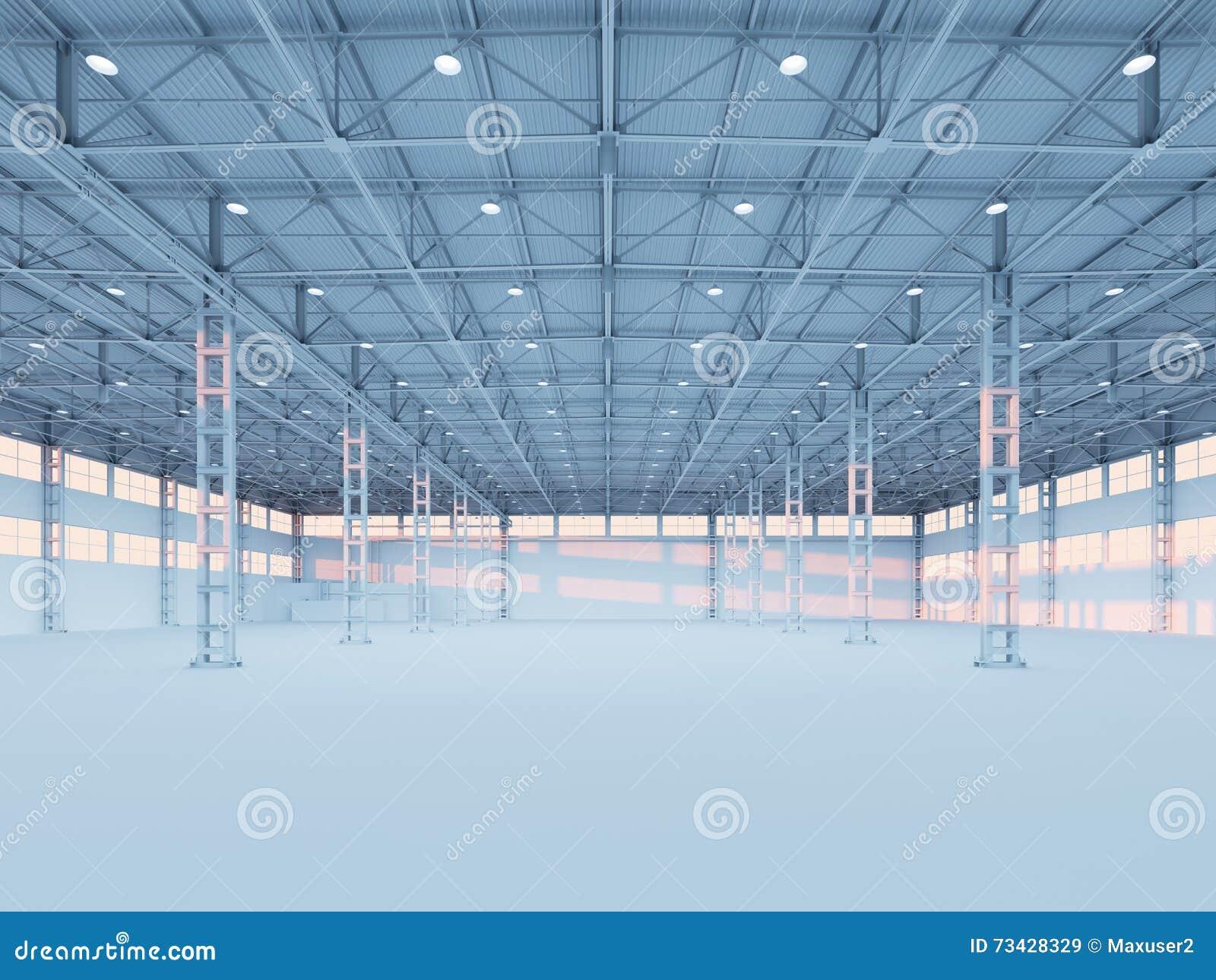 当代空的白色仓库3d例证