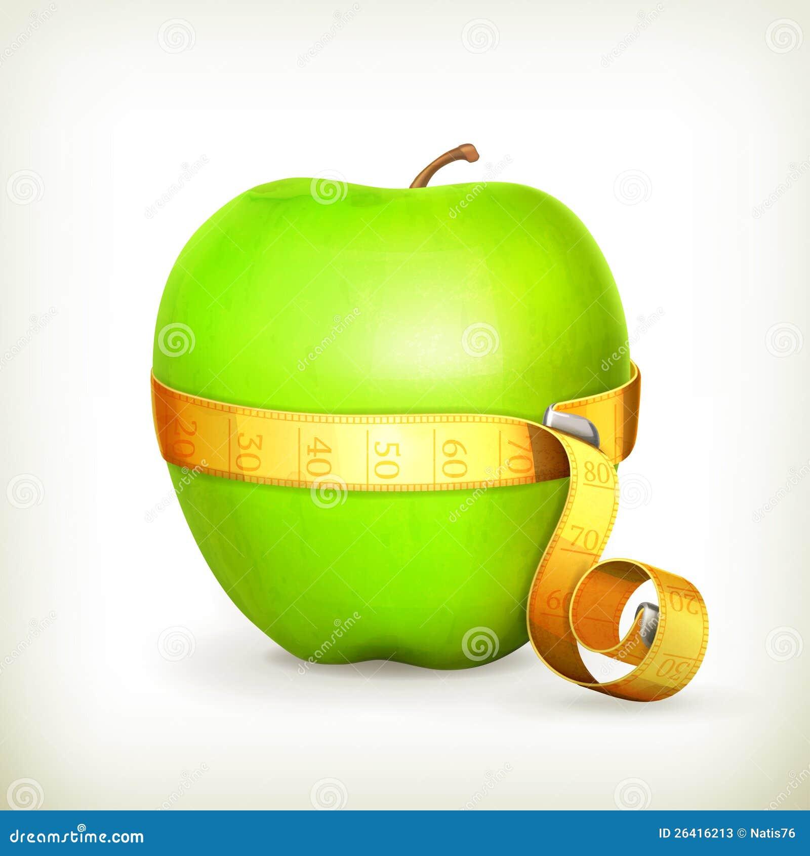 录制评定和绿色苹果