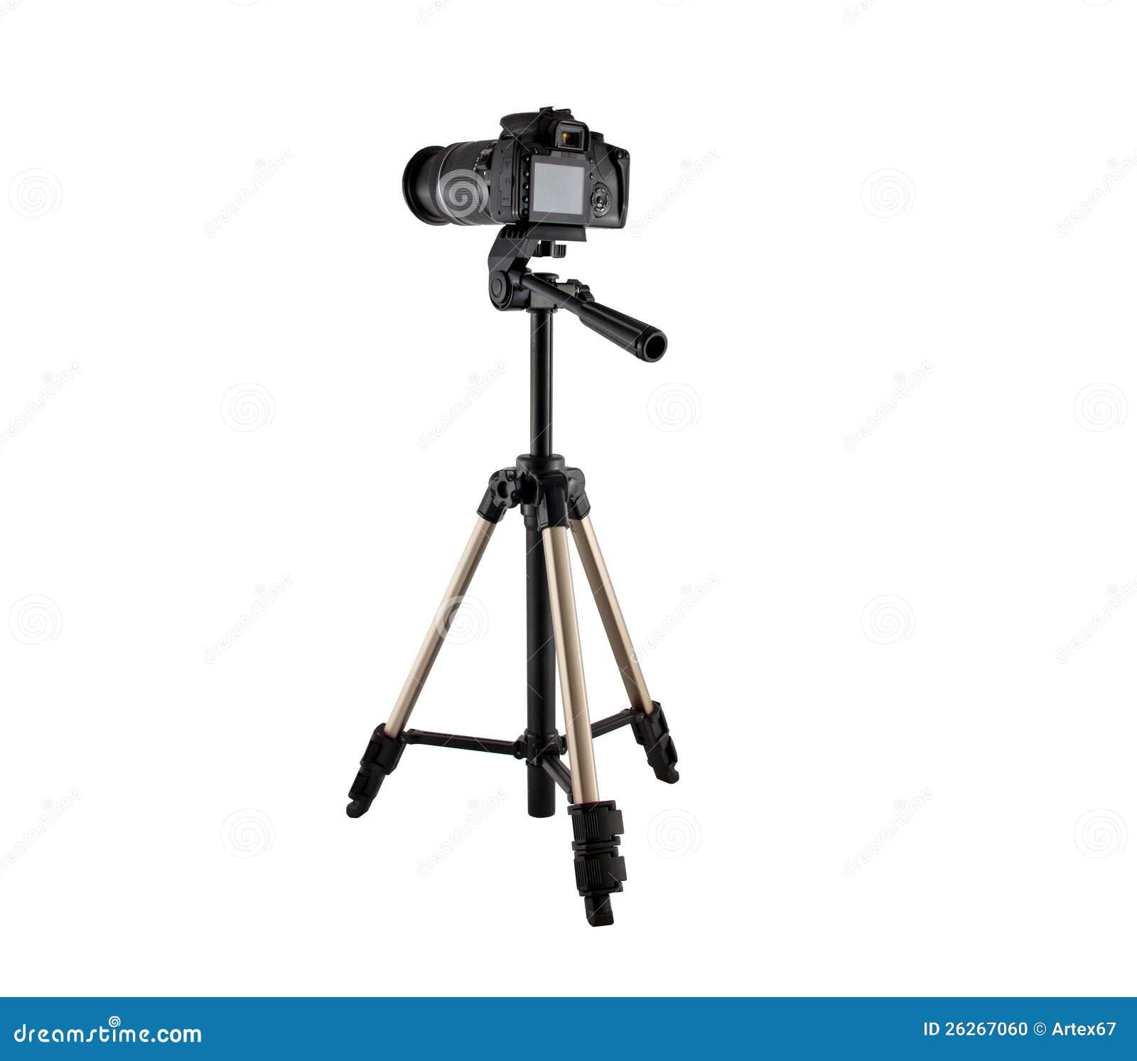 录影和照片写真的一个三脚架与照相机.