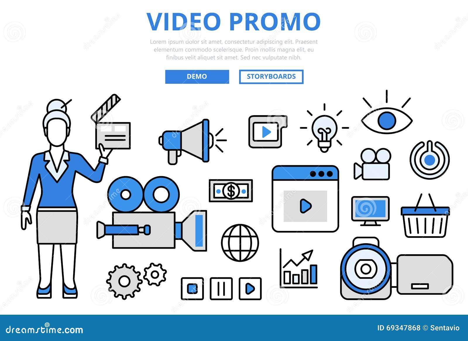 录影电视节目预告数字式营销概念平的线艺术传染媒介象