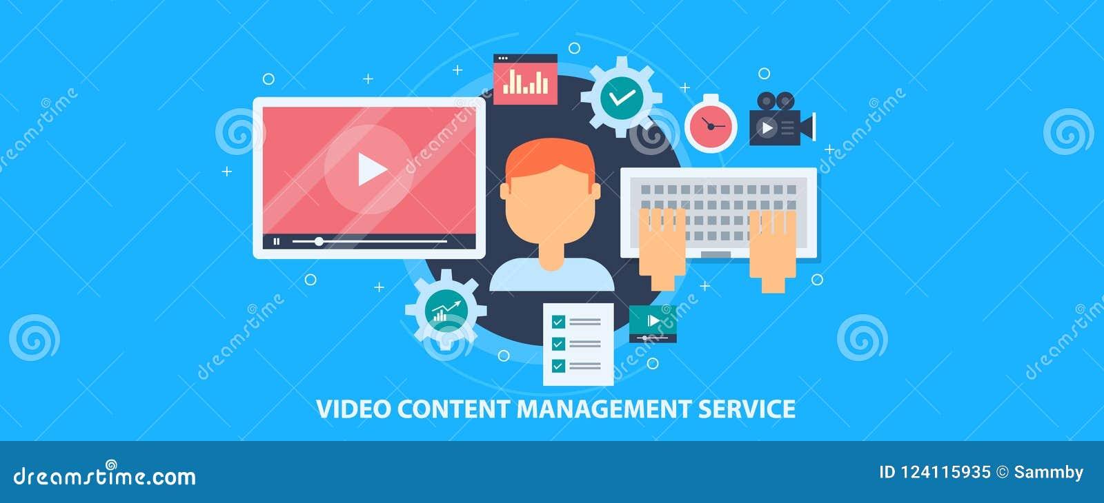 录影美满的管理业务,数量,编辑的录影,出版物软件概念 平的设计传染媒介横幅