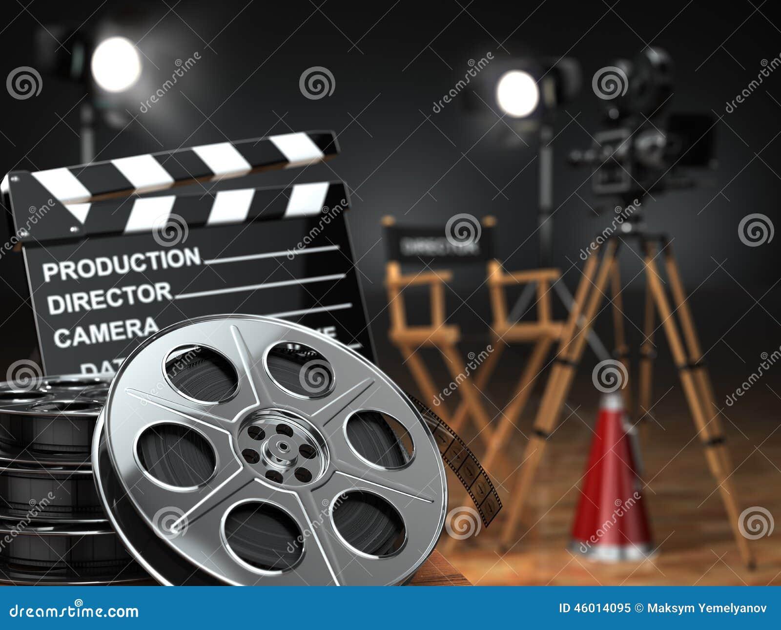 录影,电影,戏院概念 减速火箭的照相机,卷轴, clapperboard