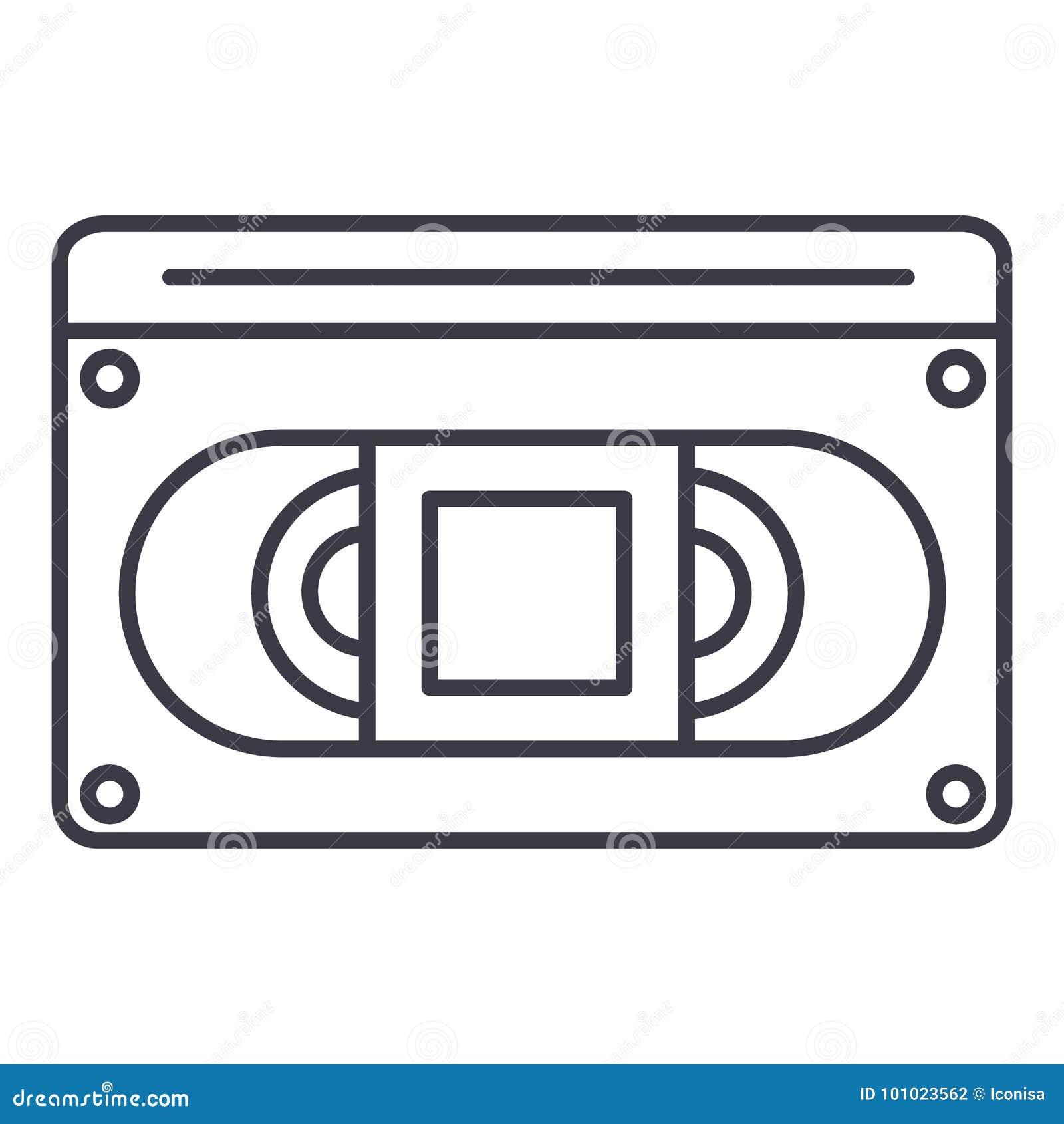 录影cassete传染媒介线象,标志,在背景,编辑可能的冲程的例证